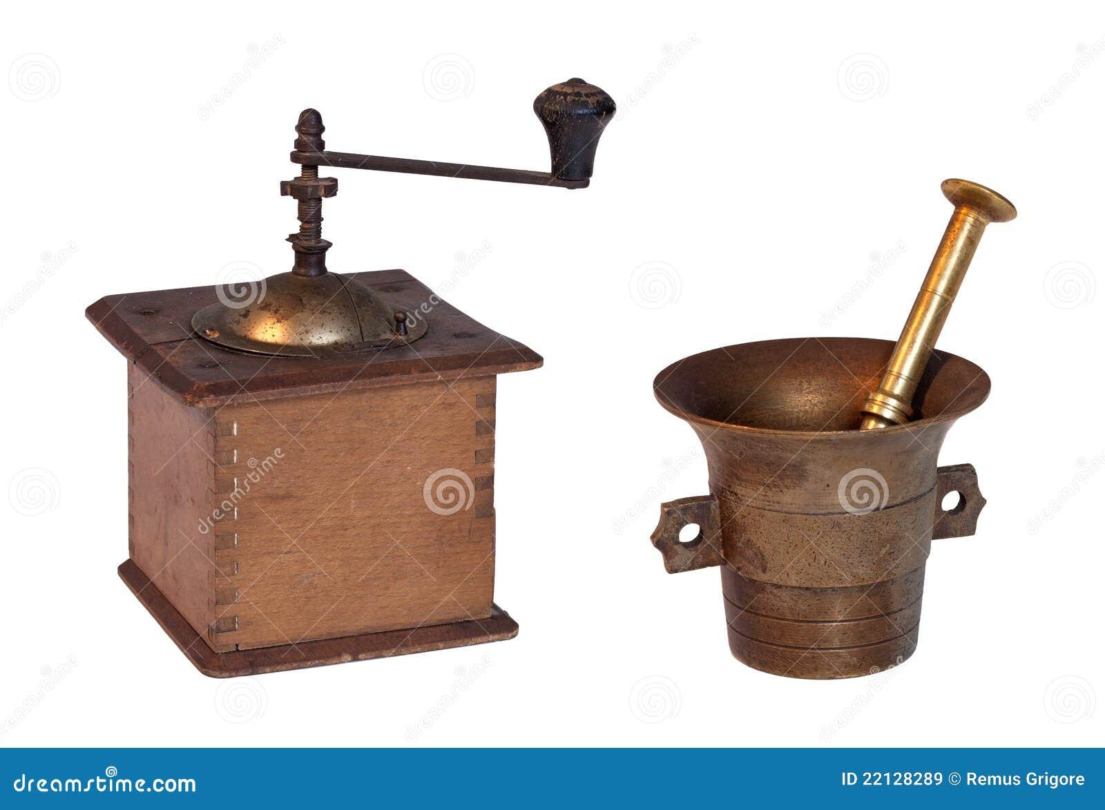Grinder isolerad gammal pestle för mortel
