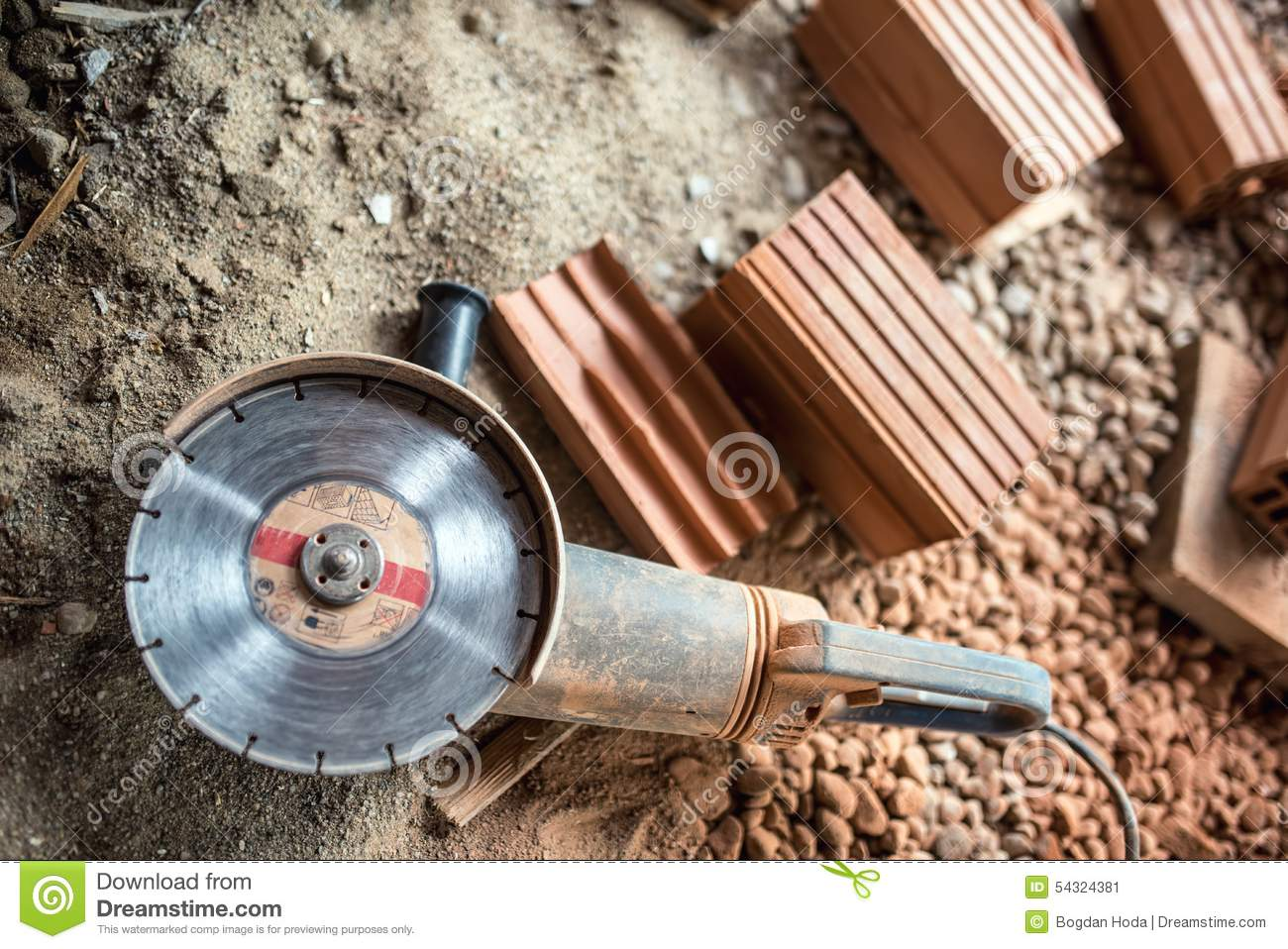 Grinder Used On Construction Site For Cutting Bricks