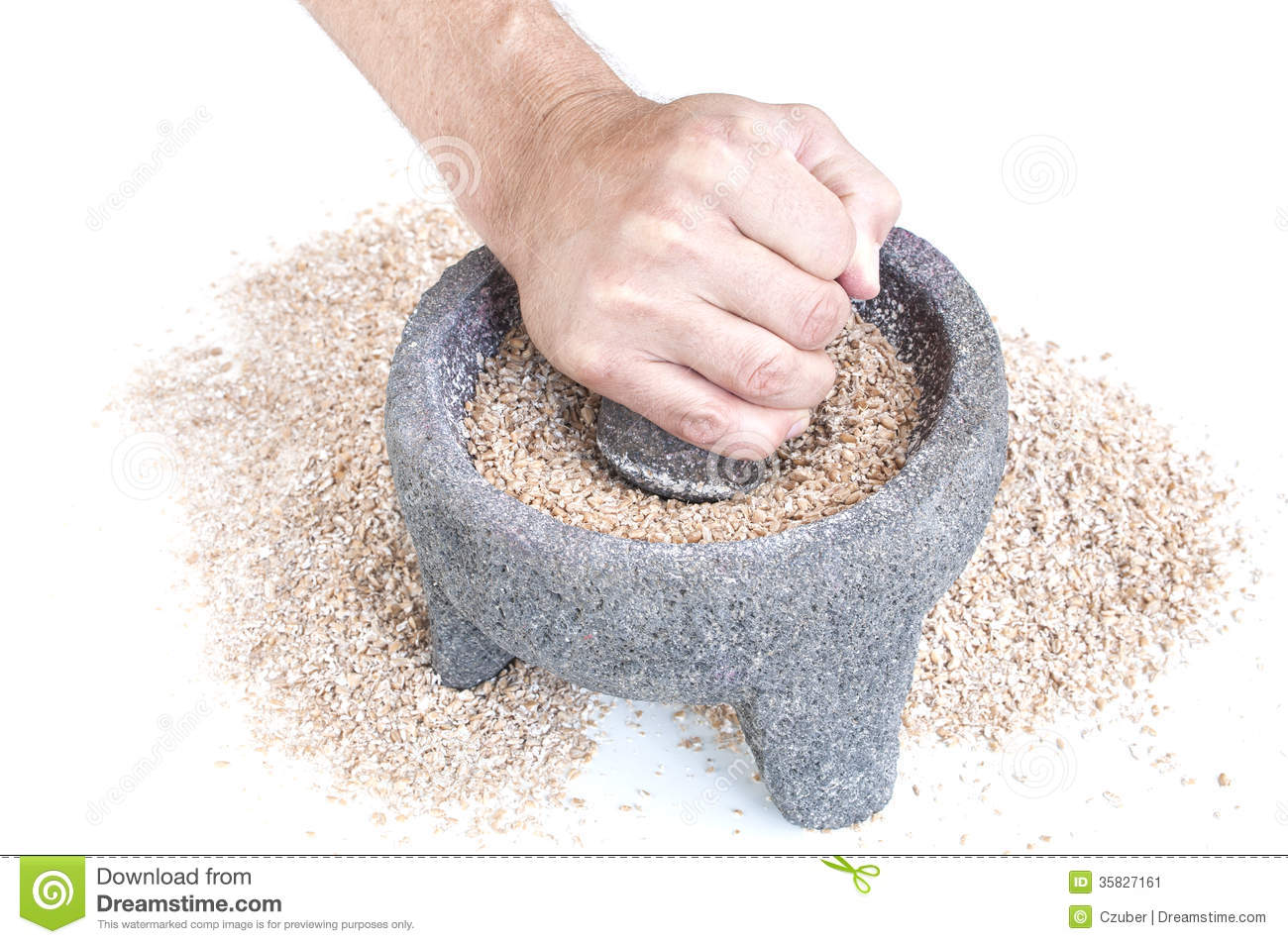 Grinding Wheat Stock Image Image Of Pestle Mortar Labor