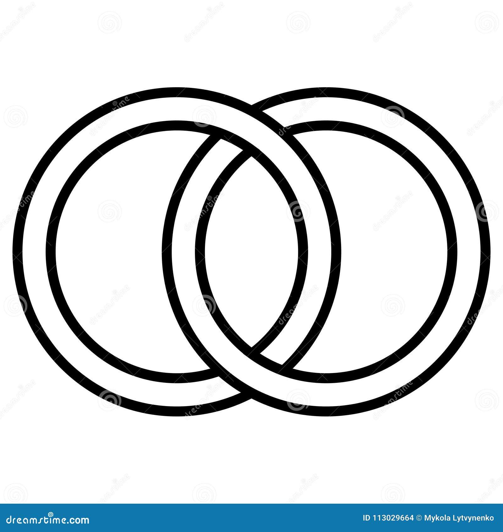 Gripa in i varandra cirkelsymbolstecknet, översiktscirklar Cirklar cirklar som gifta sig begreppssymbolssymbol