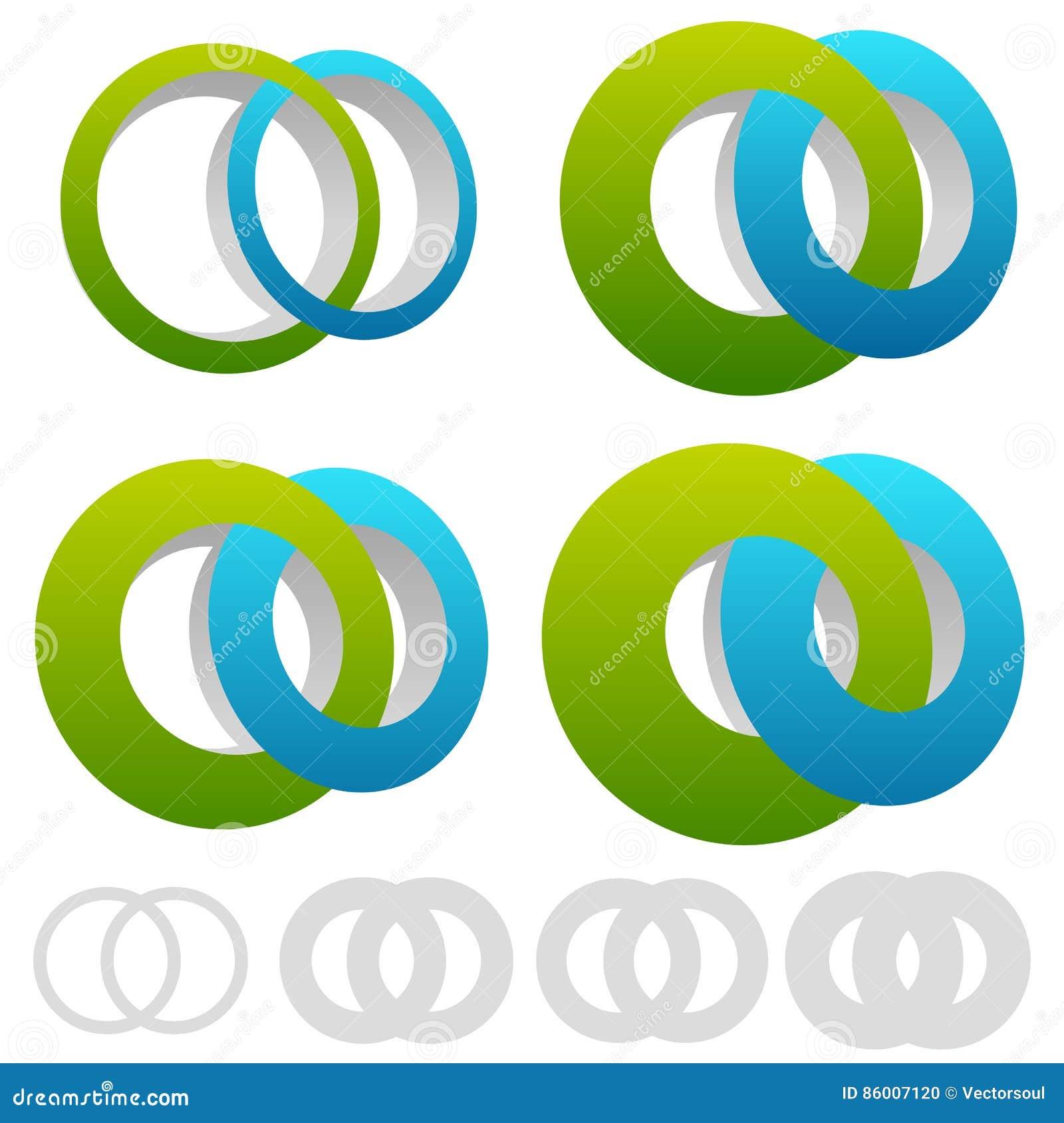 Gripa in i varandra cirklar, cirklar Det oändliga symbolet eller logoen med skilja sig åt