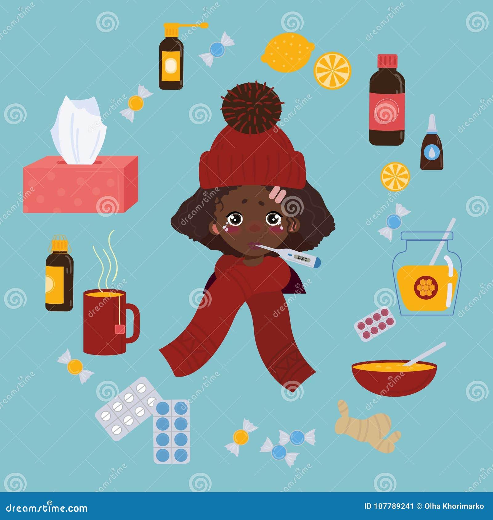 Grippe froide attrapée ou virus de jeune fille Traitement de maladie
