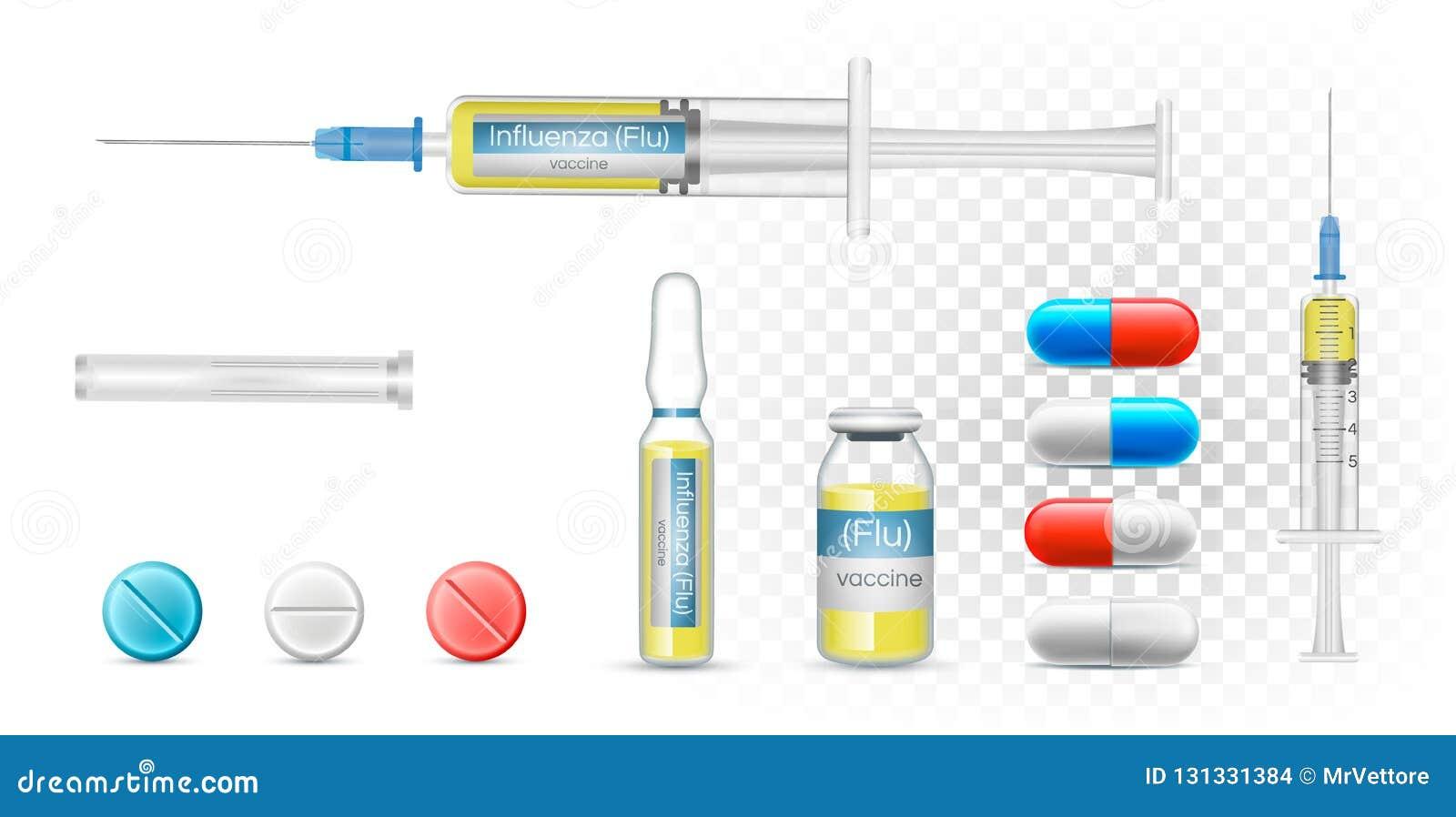 Grippe vaccinique de grippe dans une seringue Dirigez les capsules pharmaceutiques réalistes, la bouteille transparente et l ampo