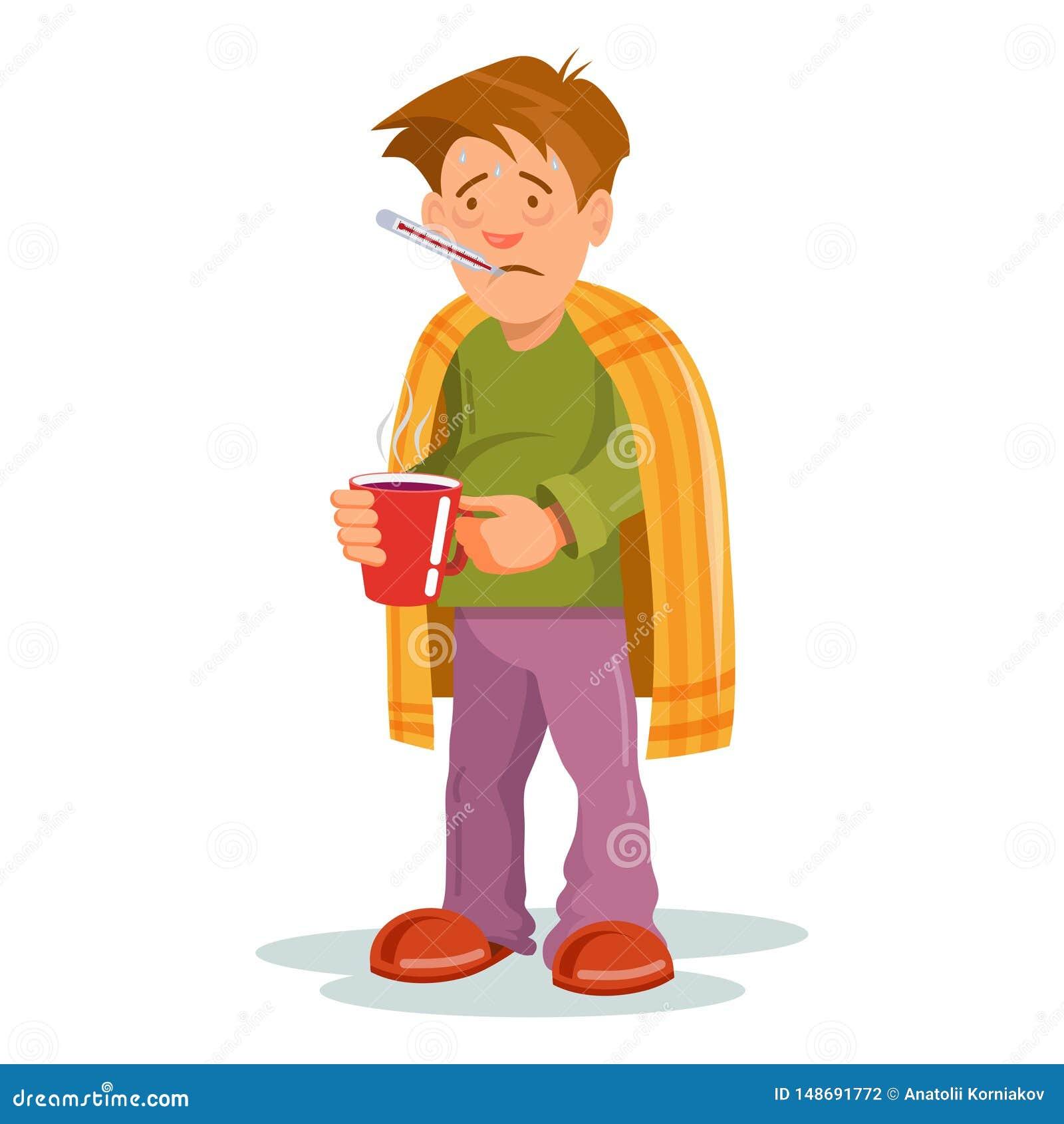 Grippekrankheit Kranke Person, die kaltes hat Kranke Mannkopfschmerzen Medizin f?r die Krankheit Grippekrankheitsperson Ð-¡ artoo