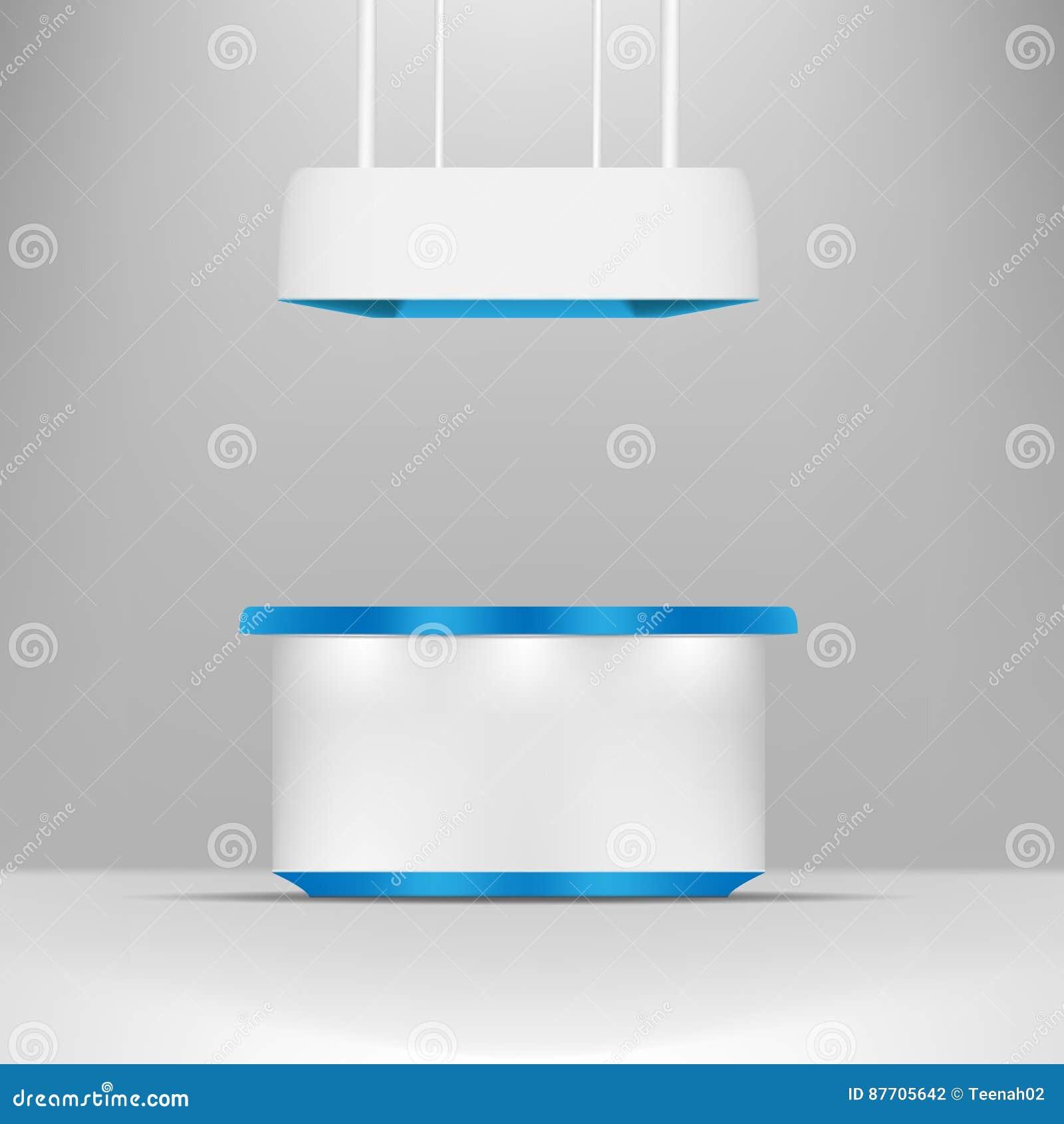 Gris blanc avec la position bleue stalle de POI de conception ou kiosque extérieure 3D/d intérieur