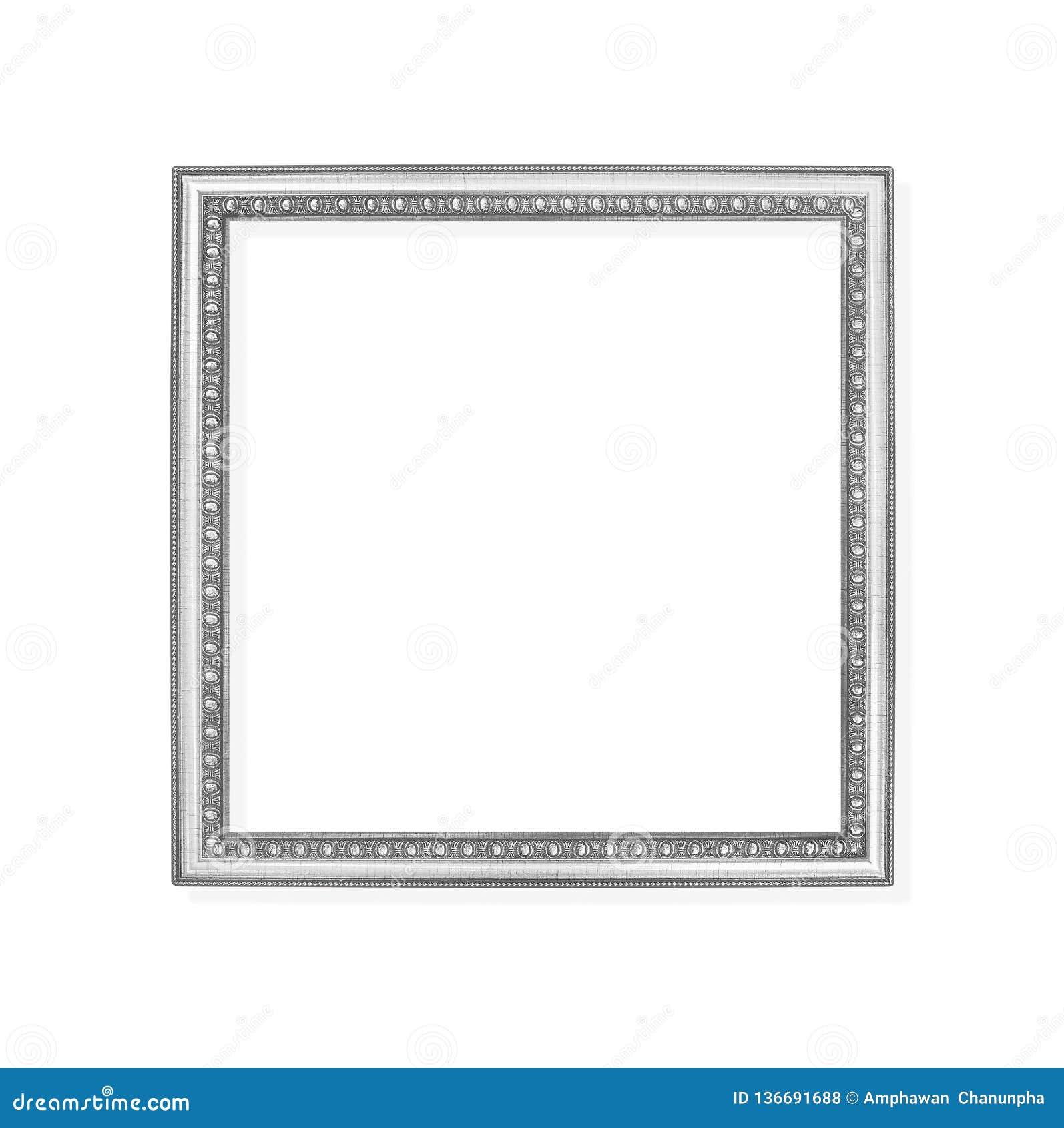 Gris de la decoración o marco del metal plateado con la talla de los modelos aislados en el fondo blanco con la trayectoria de re