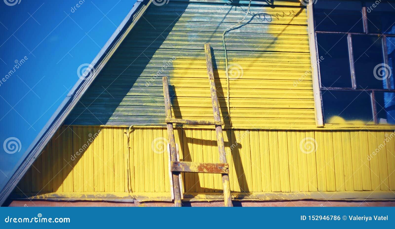 Photo Escalier Bois Peint Gris gris peinture pour bâtiments en jaune, près du mur il y a un