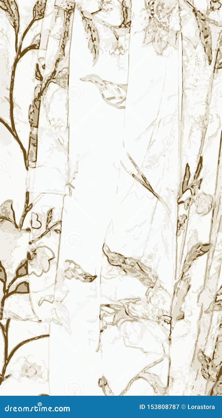Grisailleachtergrond met bladeren