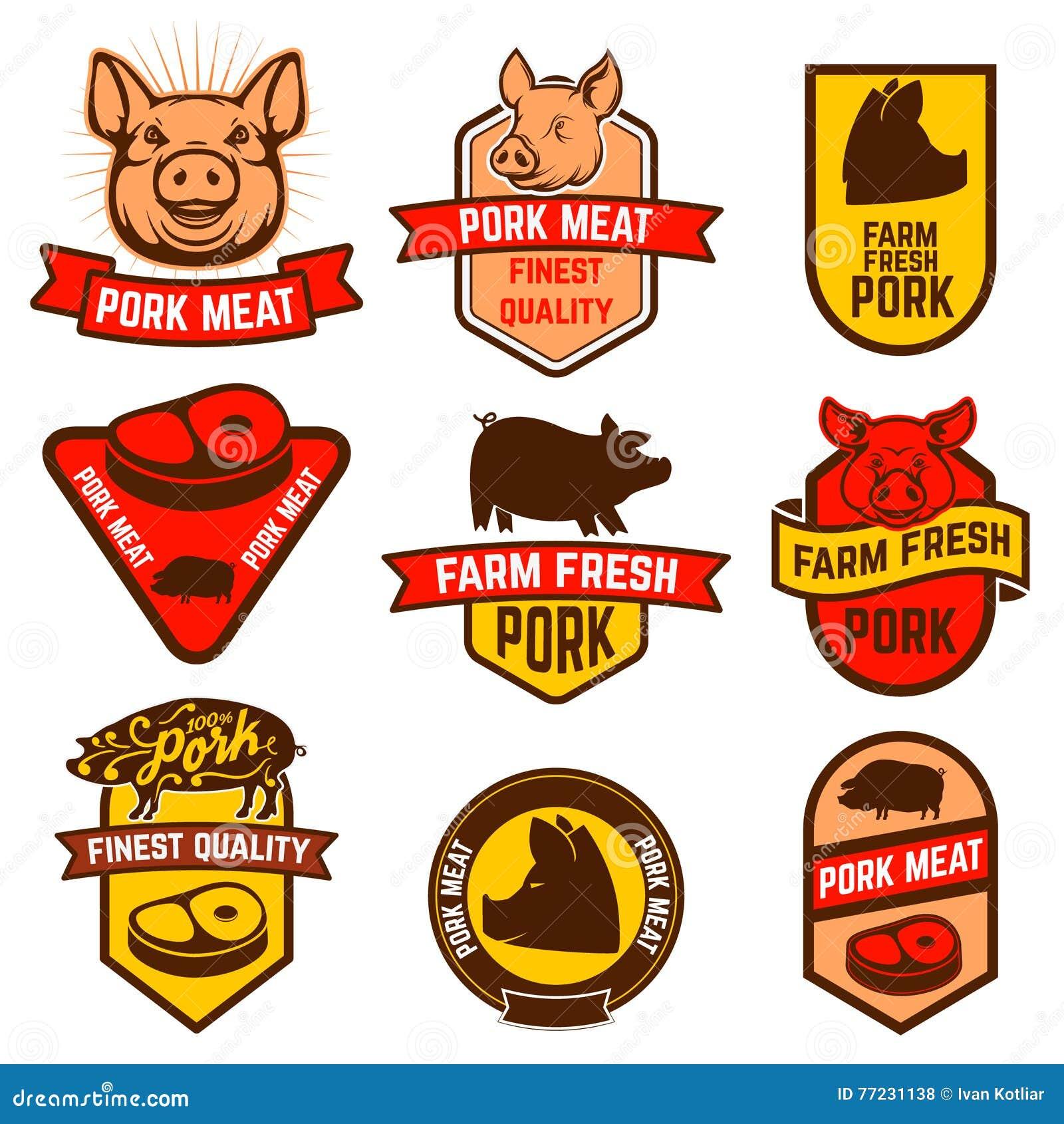 Grisköttkött, slaktare shoppar etiketter