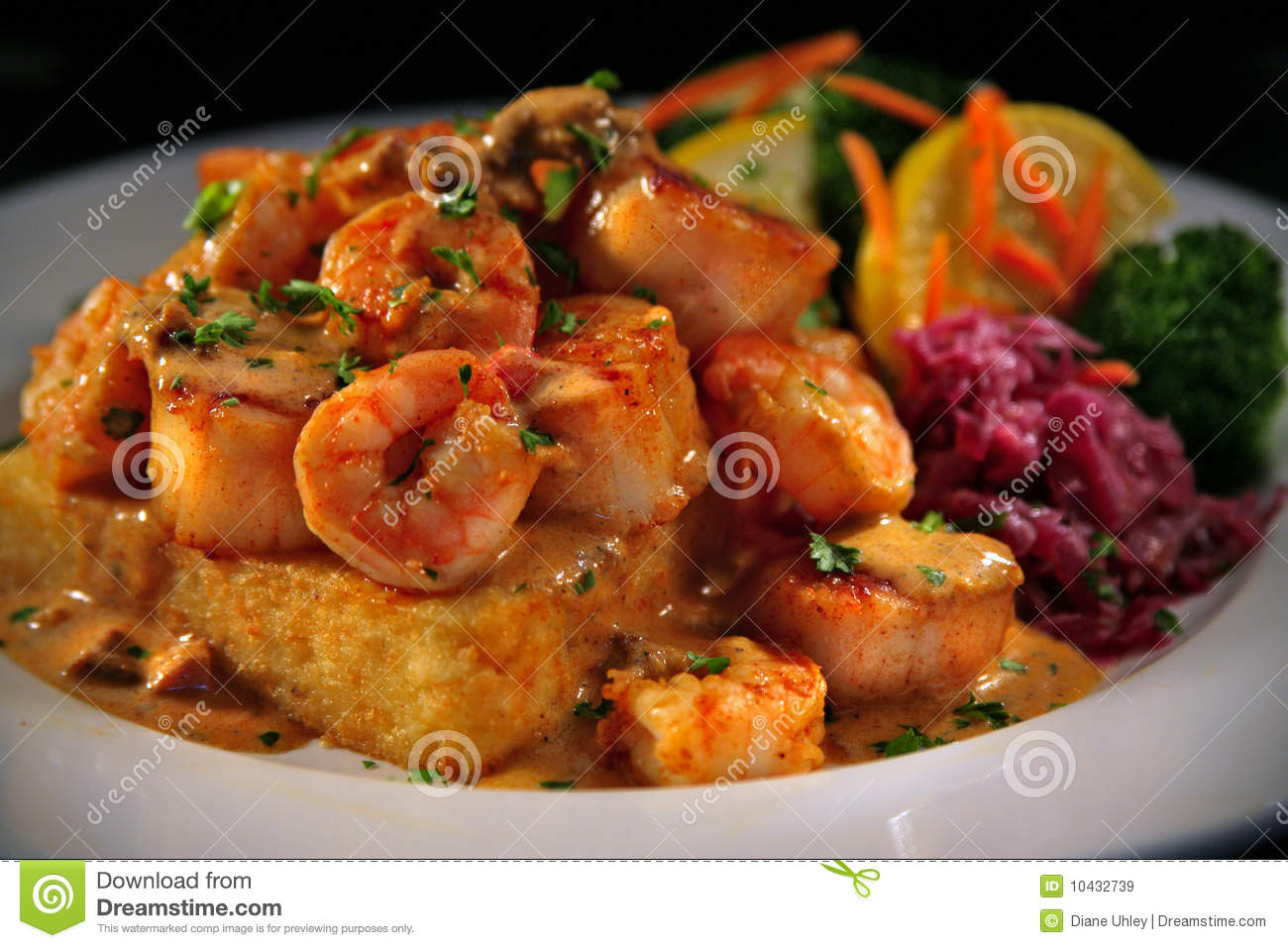 Grit Cakes And Shrimp With Veggies Royalty Free Stock Images - Image ...