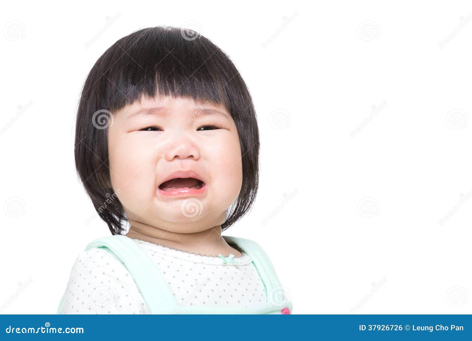 Grito asiático adorável do bebê