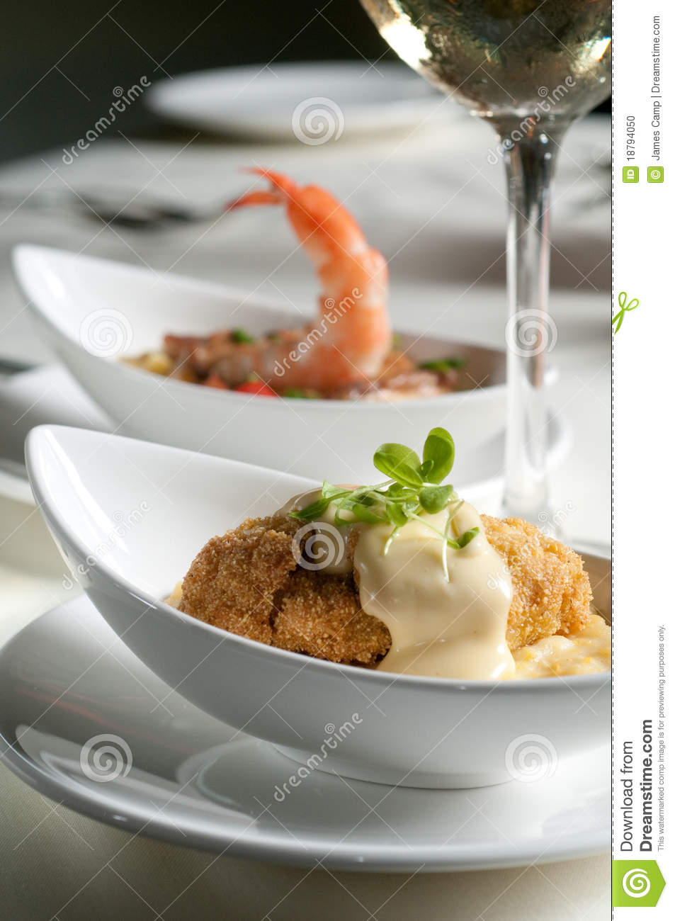 Grits two ways stock photo image 18794050 for Fried fish and shrimp