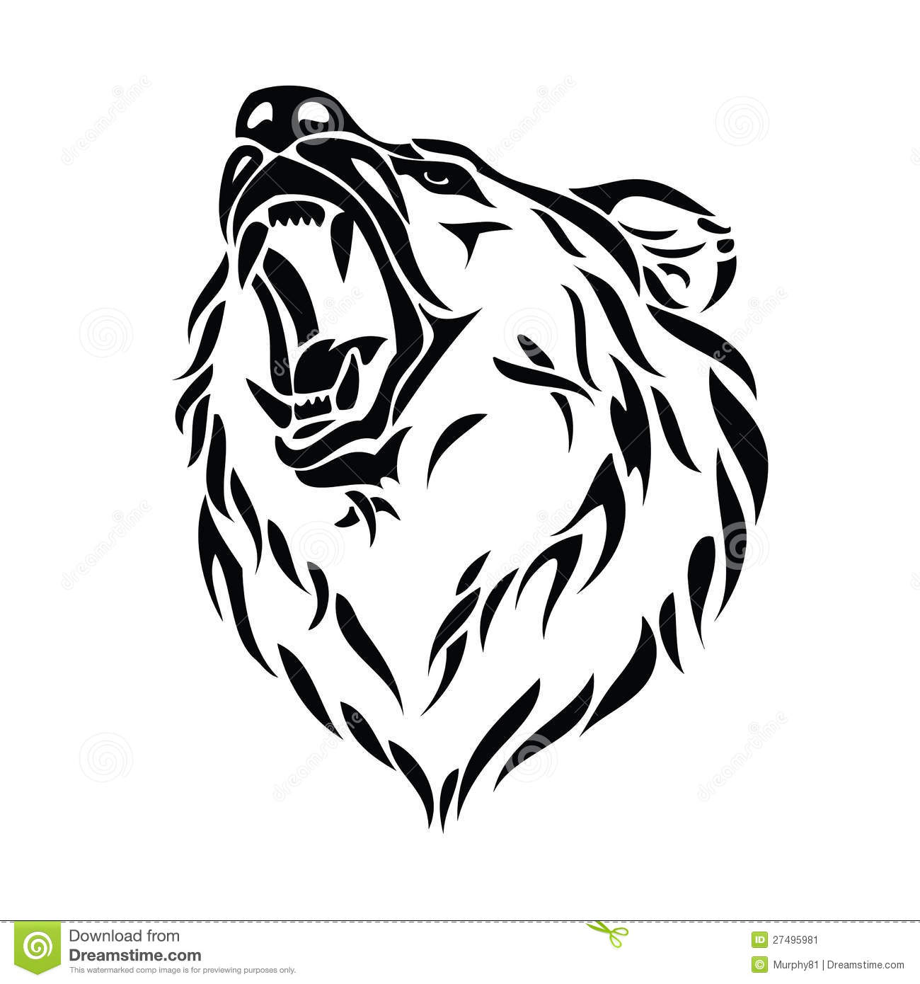 grizzly bear head stock vector image of bear fangs 27495981