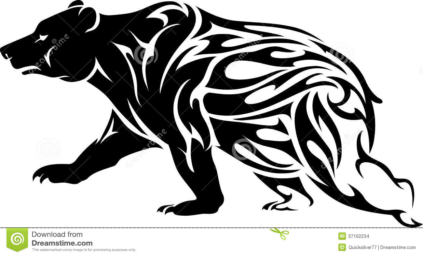 Grizzly Niedźwiedzia Tatuaż Ilustracji Ilustracja Złożonej