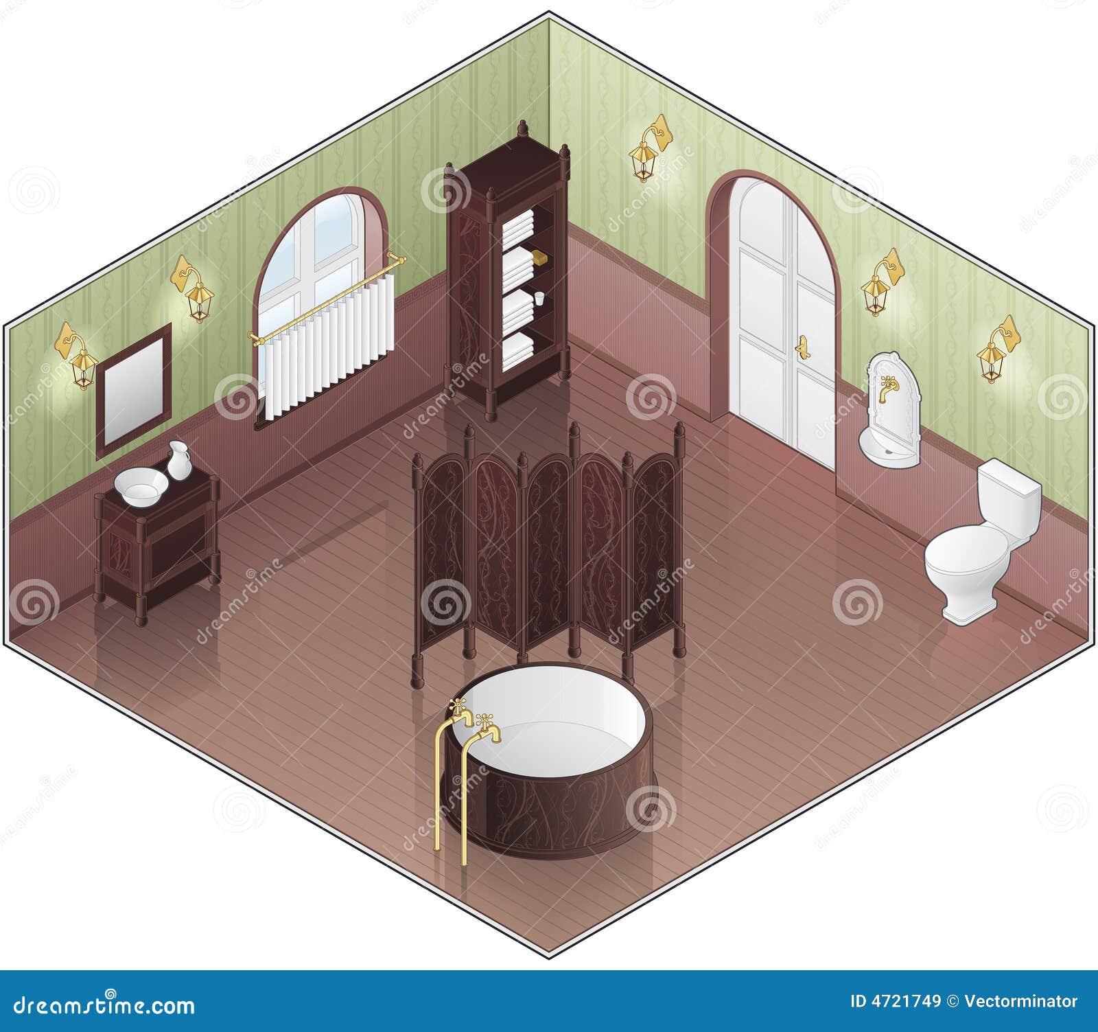 Grön gammal stil för badrum royaltyfria bilder   bild: 4721749