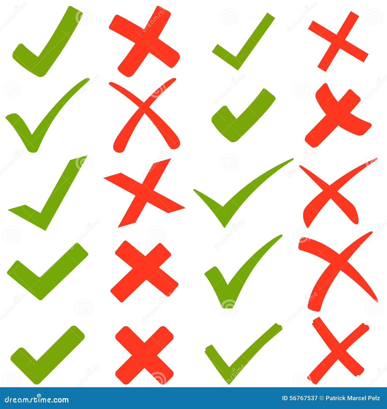 gr ne haken und rote kreuze vektor abbildung bild 56767537. Black Bedroom Furniture Sets. Home Design Ideas
