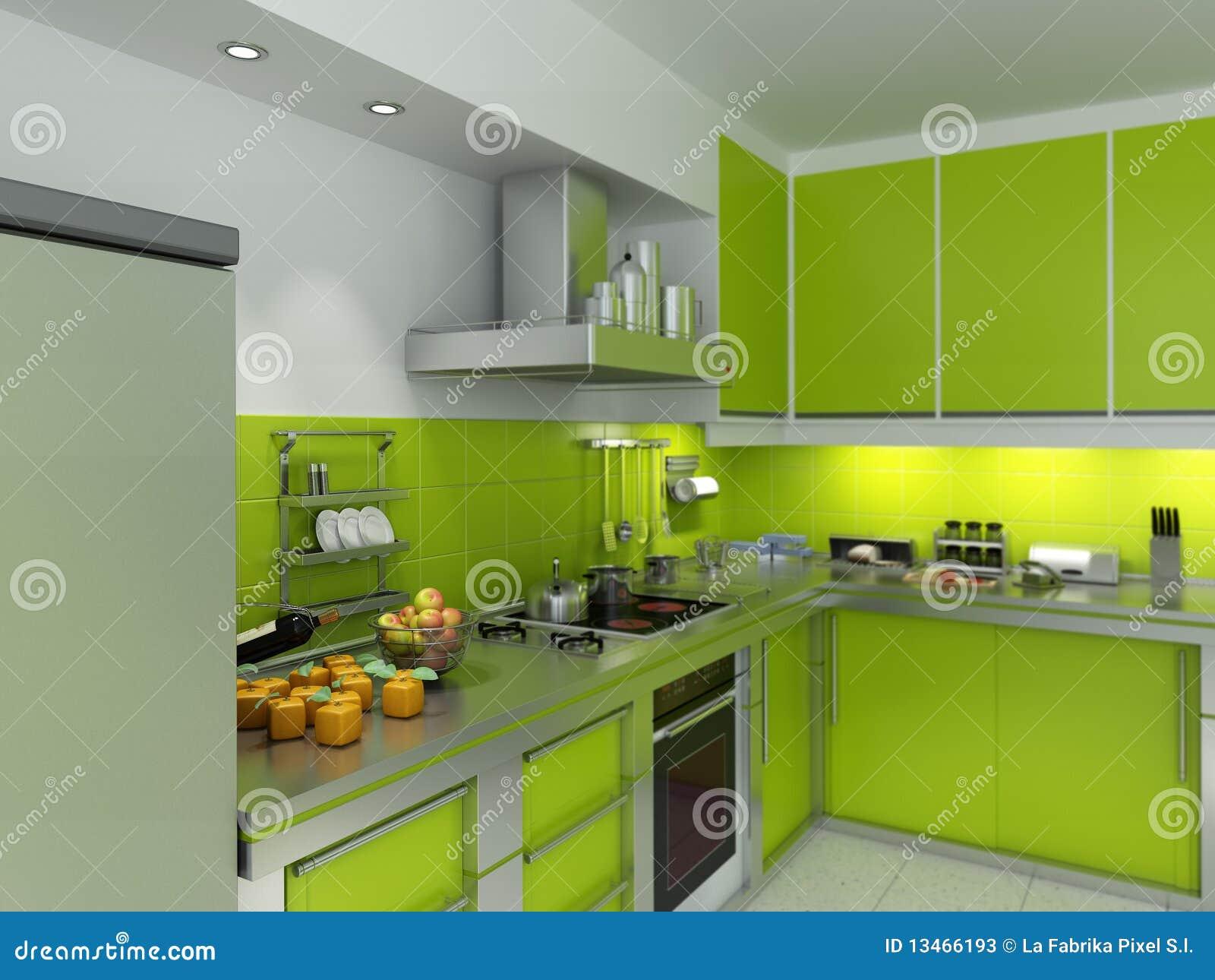 grüne küche stockfotos - bild: 13466193