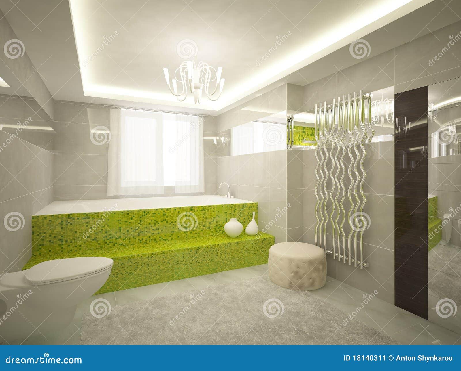 Grünes Badezimmer 3d Stockbild - Bild: 18140311