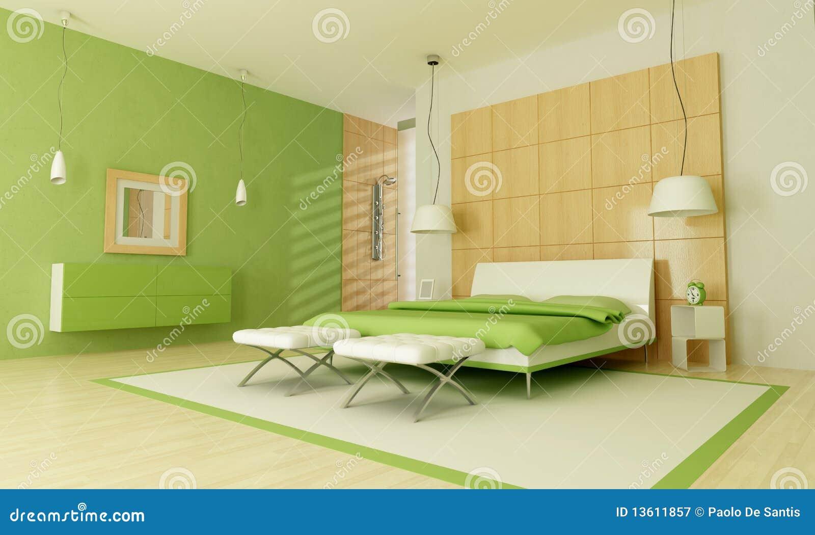 Grünes Modernes Schlafzimmer Lizenzfreie Stockfotografie - Bild ...