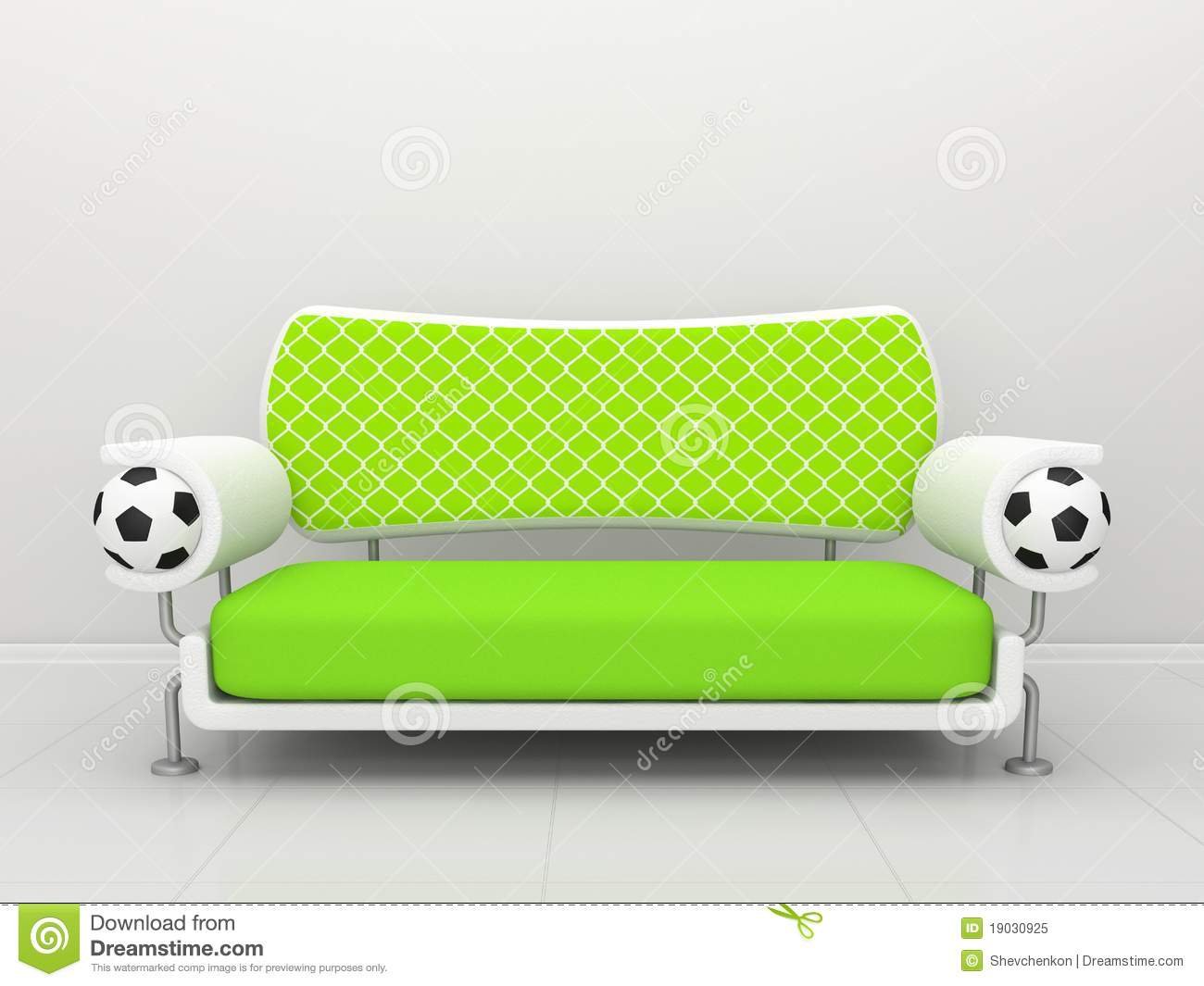gr nes sofa mit fu ball symbolics lizenzfreies stockfoto bild 19030925. Black Bedroom Furniture Sets. Home Design Ideas
