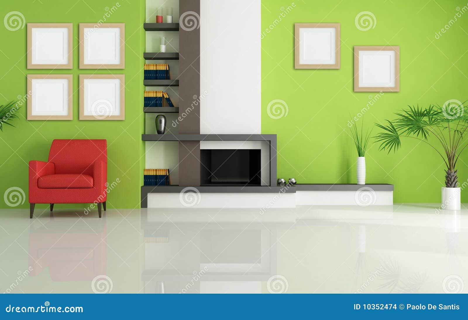 Wohnzimmer Mit Kamin Und Schwarz-und-grünem Dekor Stockfoto - Bild ...