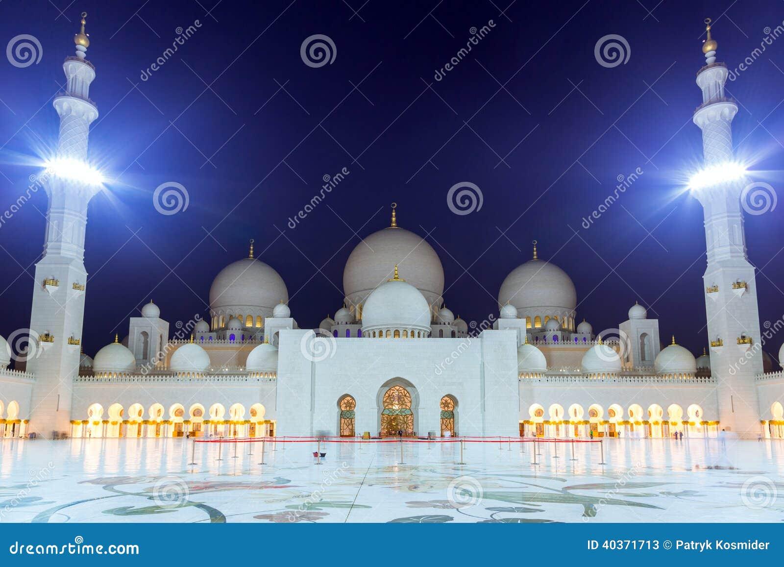 Grossartige Moschee In Abu Dhabi Nachts Stockbild Bild Von