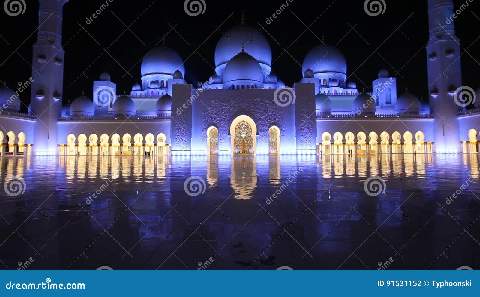 Grossartige Moschee In Abu Dhabi Nachts Stock Footage Video Von