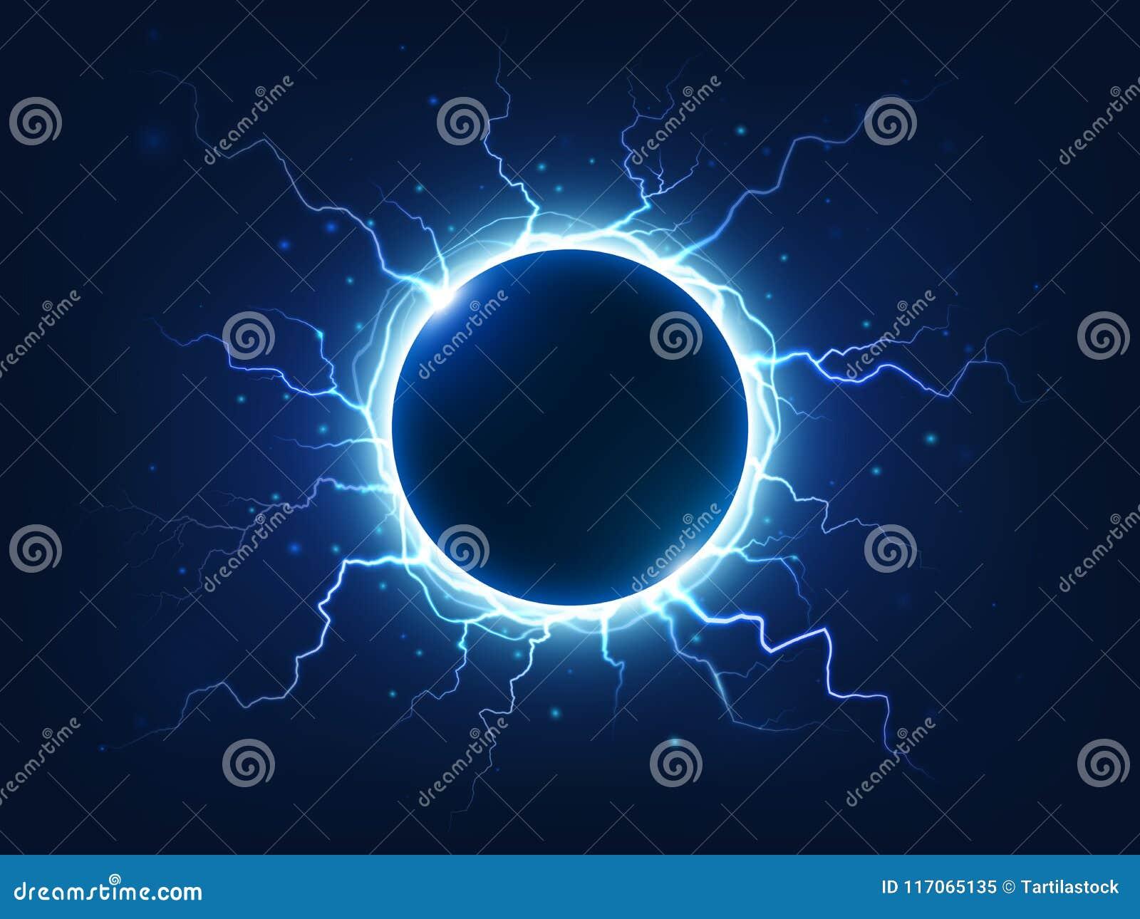 Großartiger Donner und Blitz umgeben blauen elektrischen Ball Umgebene elektrische Blitze der Energieenergie Bereich