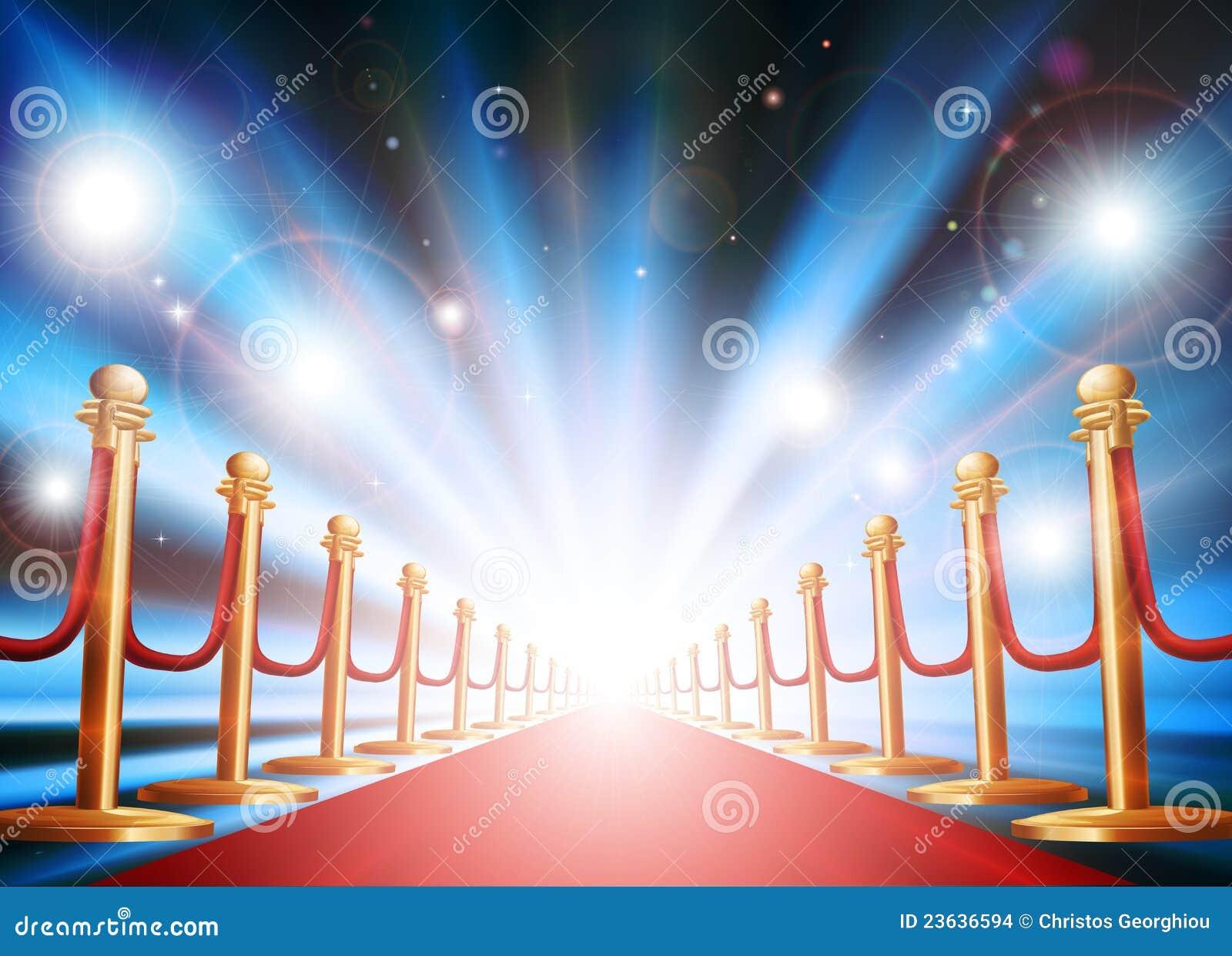Großartiger Eingang mit Leuchten des roten Teppichs und des Blinkens
