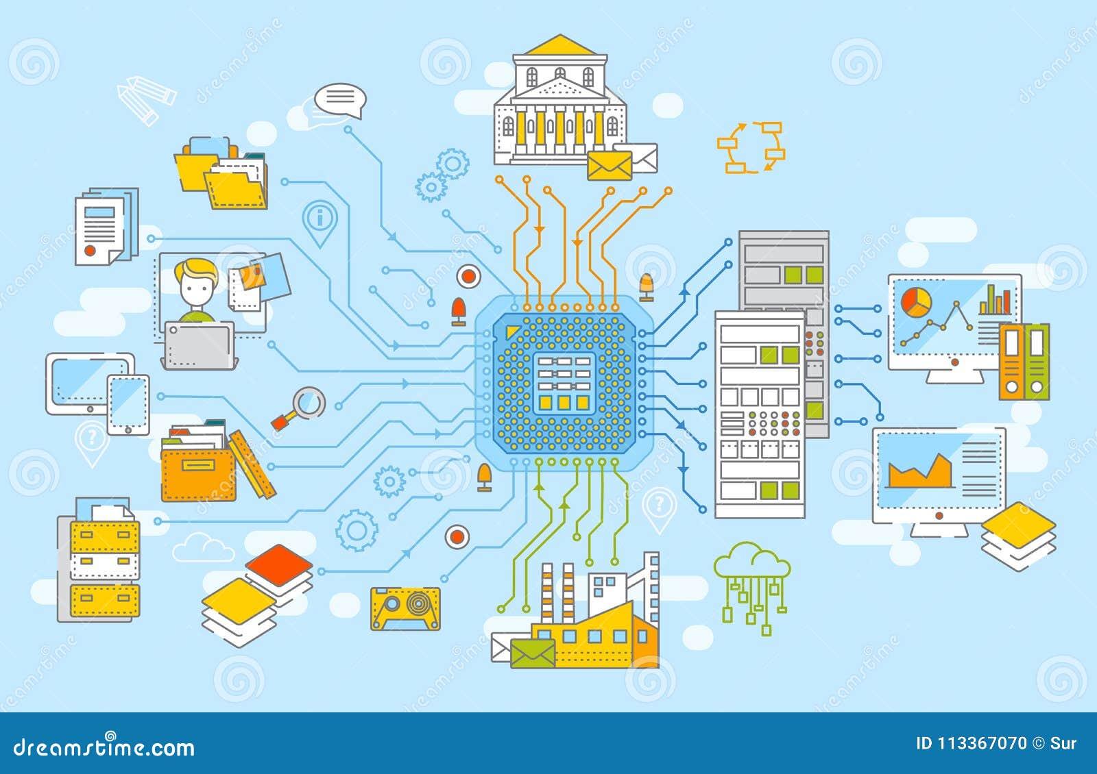Große Daten-Konzept-Vektor-Illustration Nachrichtenbeschaffung, Datenverarbeitung, Informationen analysys, Datenspeicherung