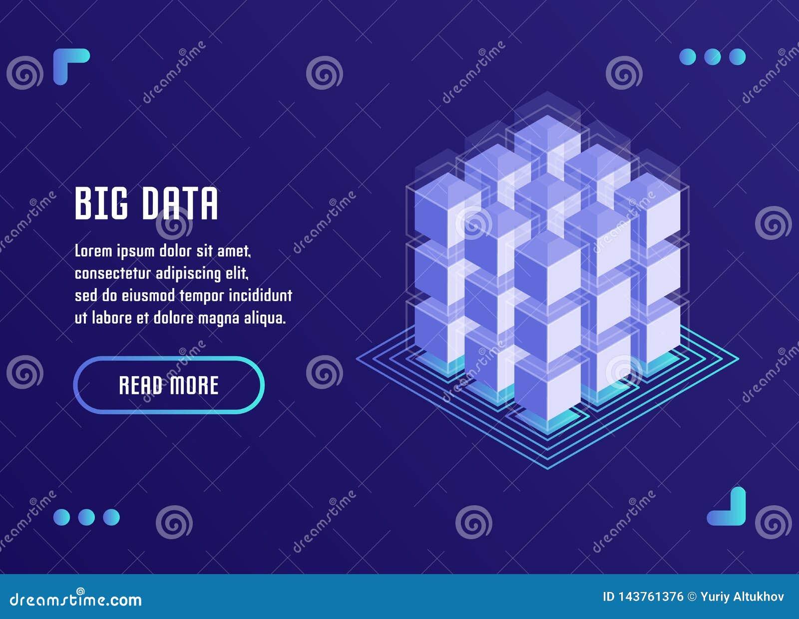 Große Datenverarbeitung, Datenanalyse, Datenspeicherung, Blockchain-Technologie Vektorillustration in der flachen isometrischen A