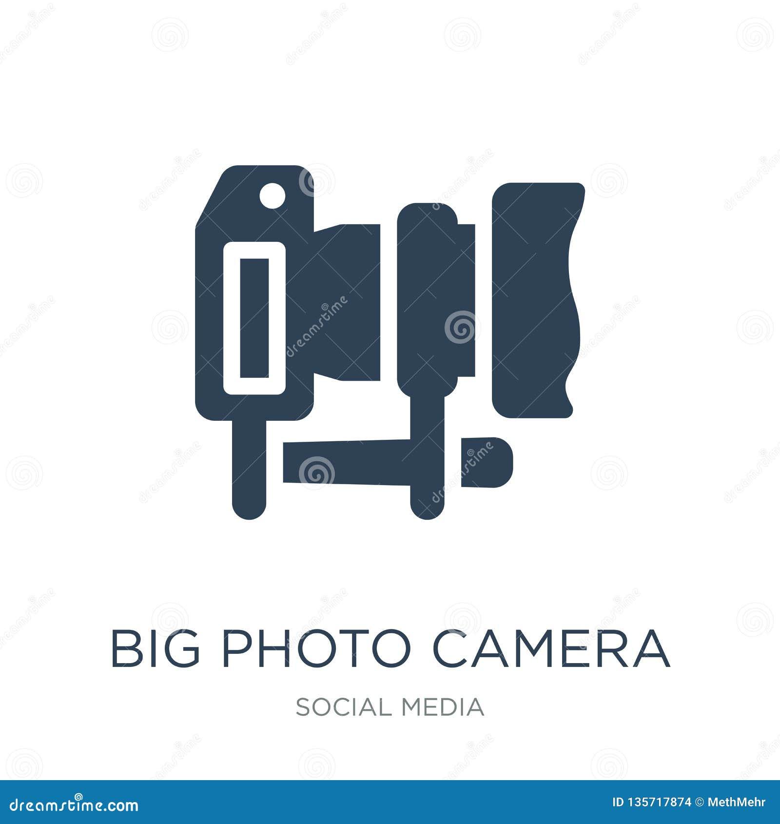 Große Fotokameraikone in der modischen Entwurfsart große Fotokameraikone lokalisiert auf weißem Hintergrund große Fotokamera-Vekt