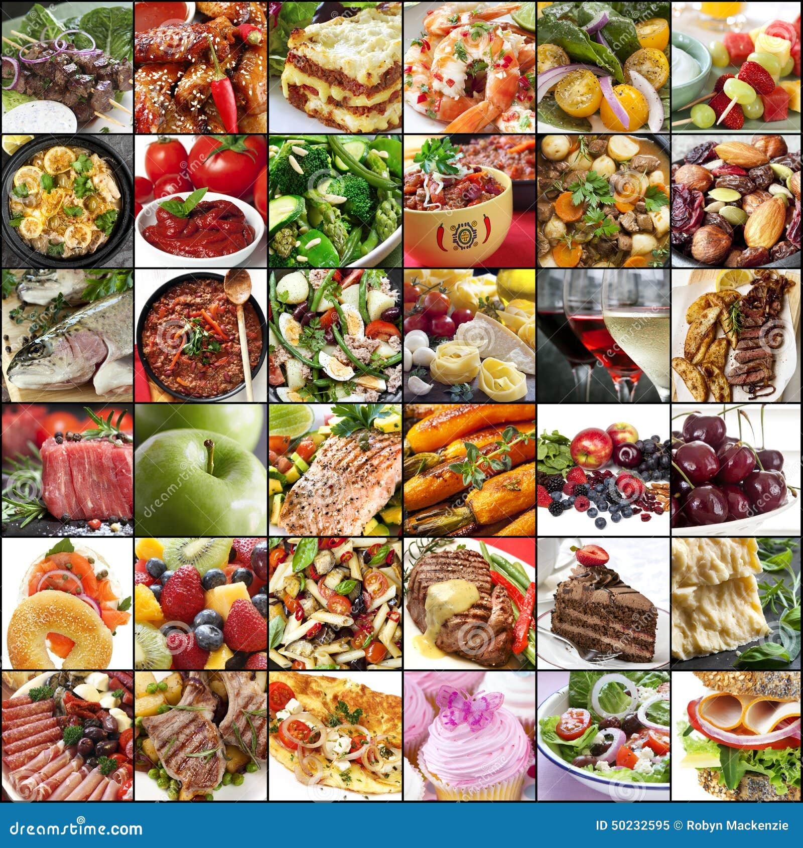 Große Lebensmittel-Collage