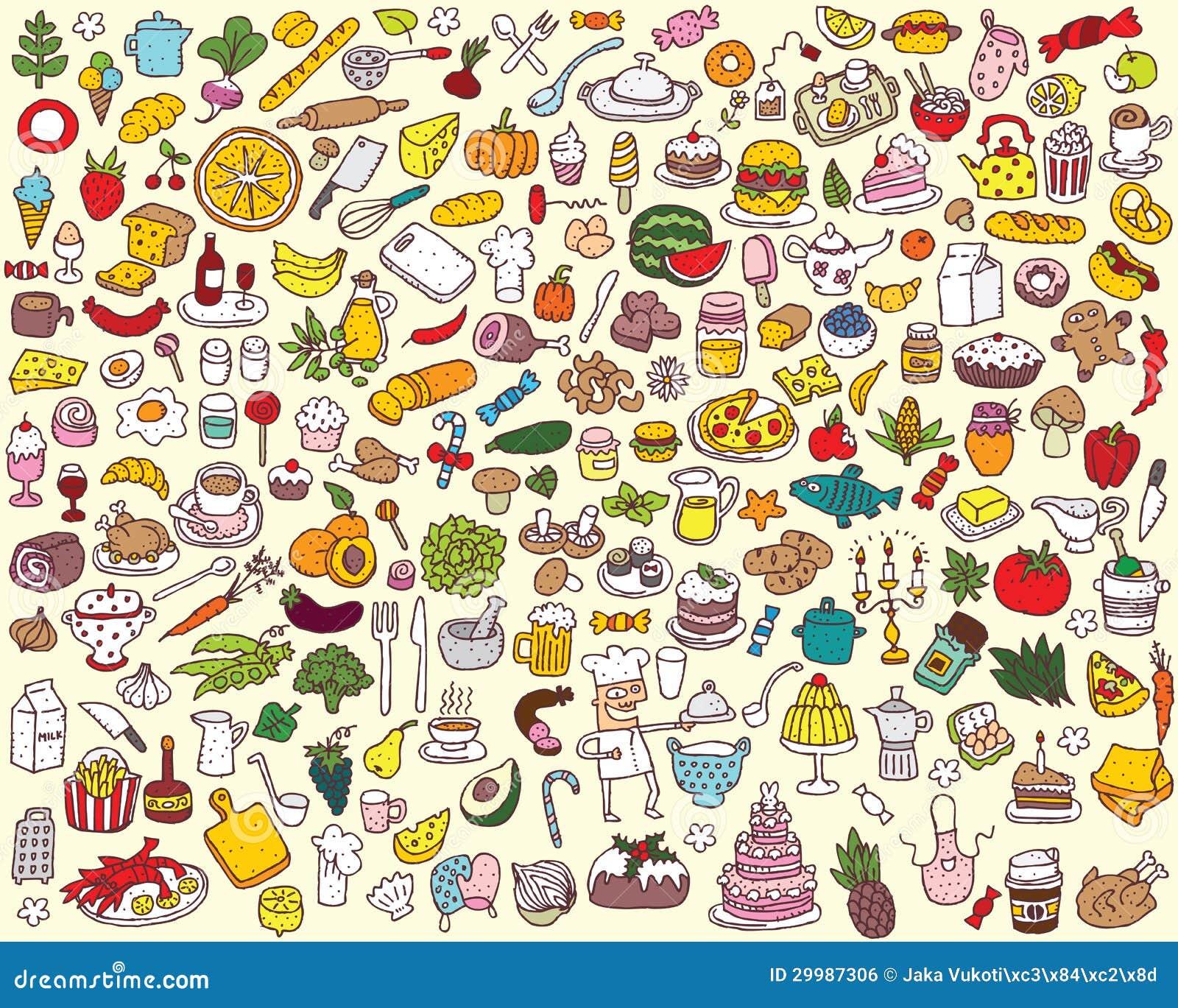 Gro 223 E Nahrungsmittel Und K 252 Chen Sammlung Lizenzfreies Stockbild Bild 29987306