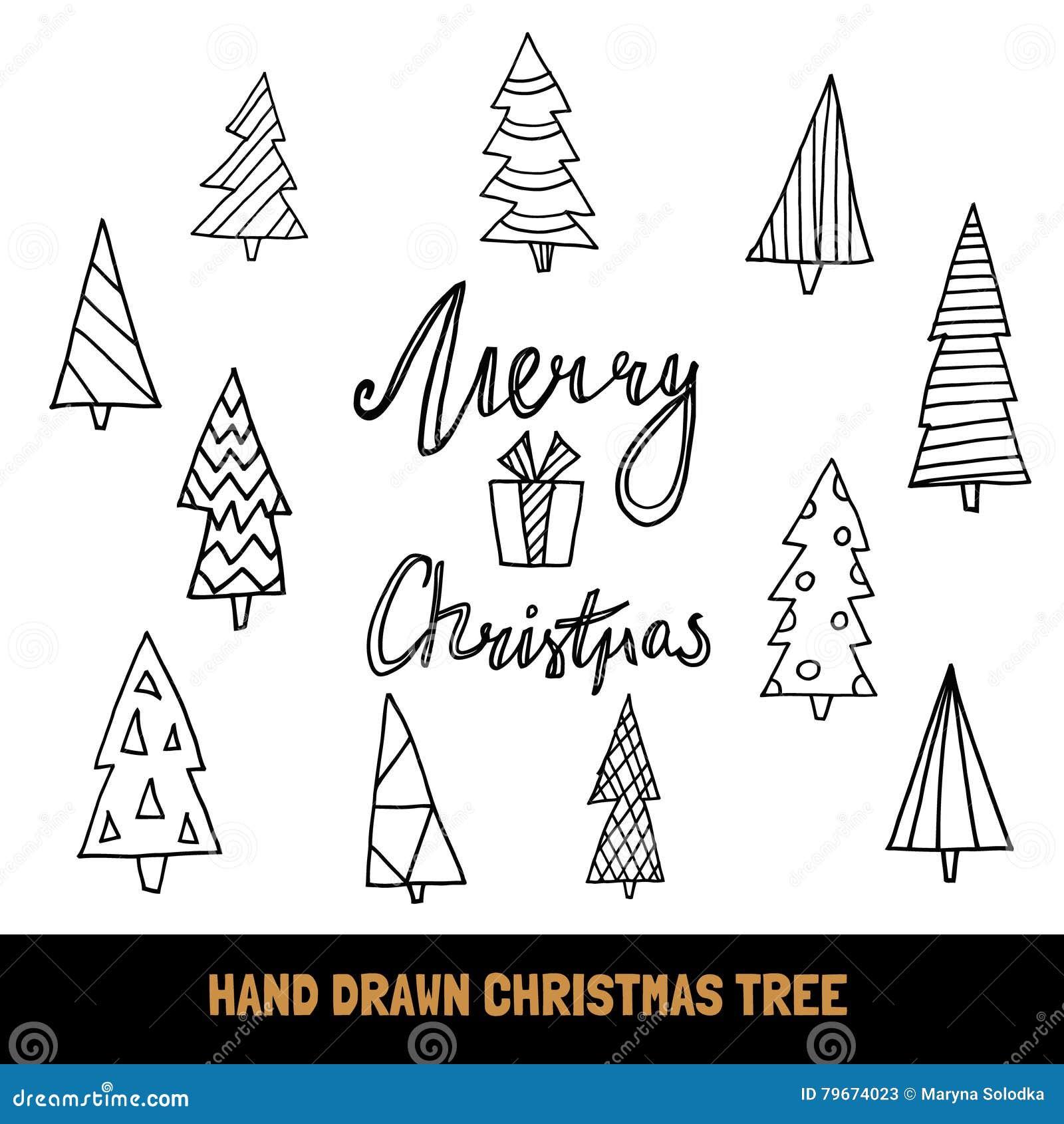 Große Sammlung Hand Gezeichneter Weihnachtsbaum Und Zitat Frohe ...