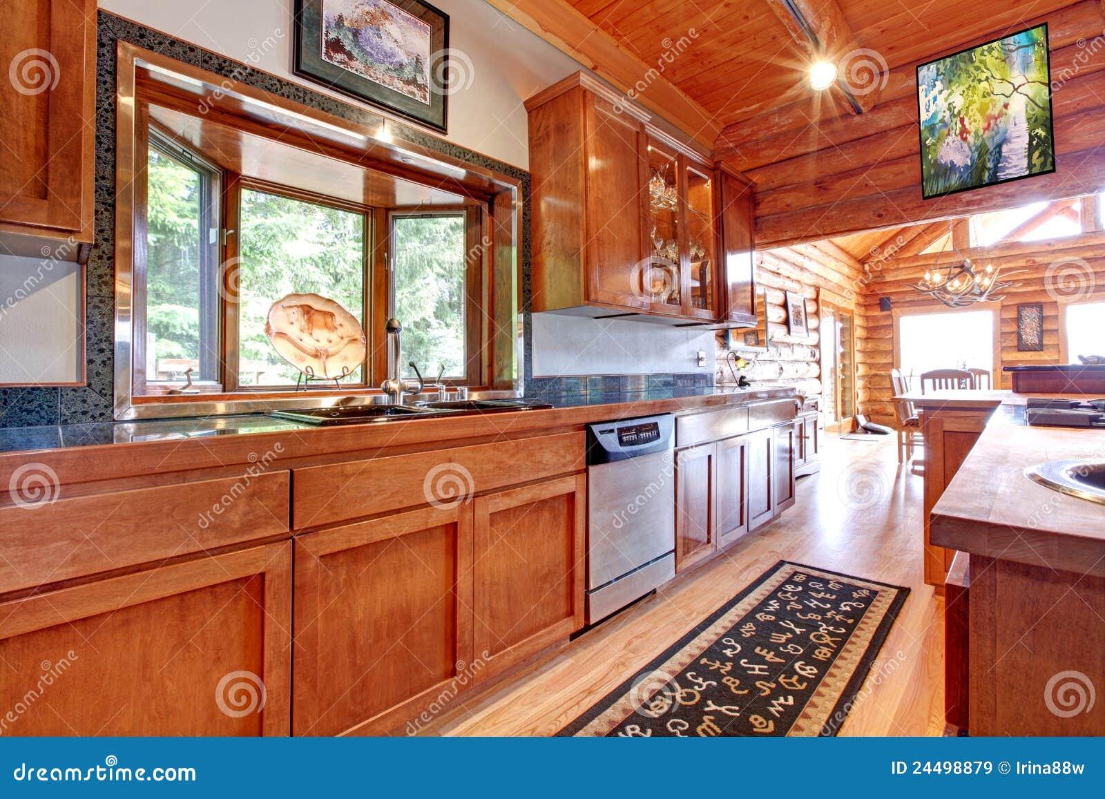 Großer Küche Lof Kabinen-Hausinnenraum. Stockbild - Bild von ...