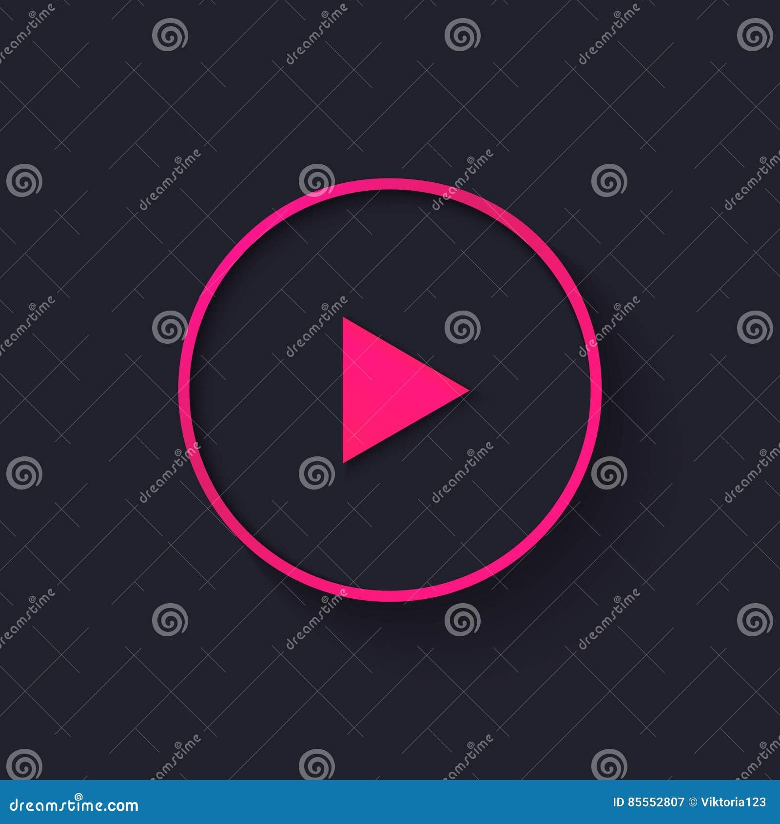 Großer rosa Neonspielknopf in der flachen Art Auch im corel abgehobenen Betrag