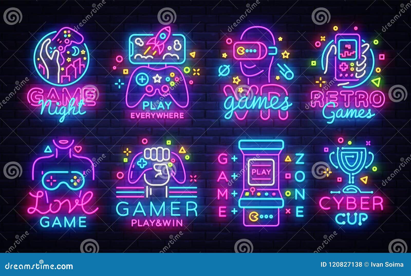 Großer Sammlungs-Videospiel-Logo-Vektor-Begriffsleuchtreklamen Videospiel-Embleme entwerfen Schablone, modernes Tendenzdesign