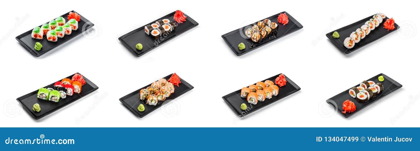 Großer Satz Sushi-Rolle - Maki Sushi auf dem Schwarzblech lokalisiert über weißem Hintergrund