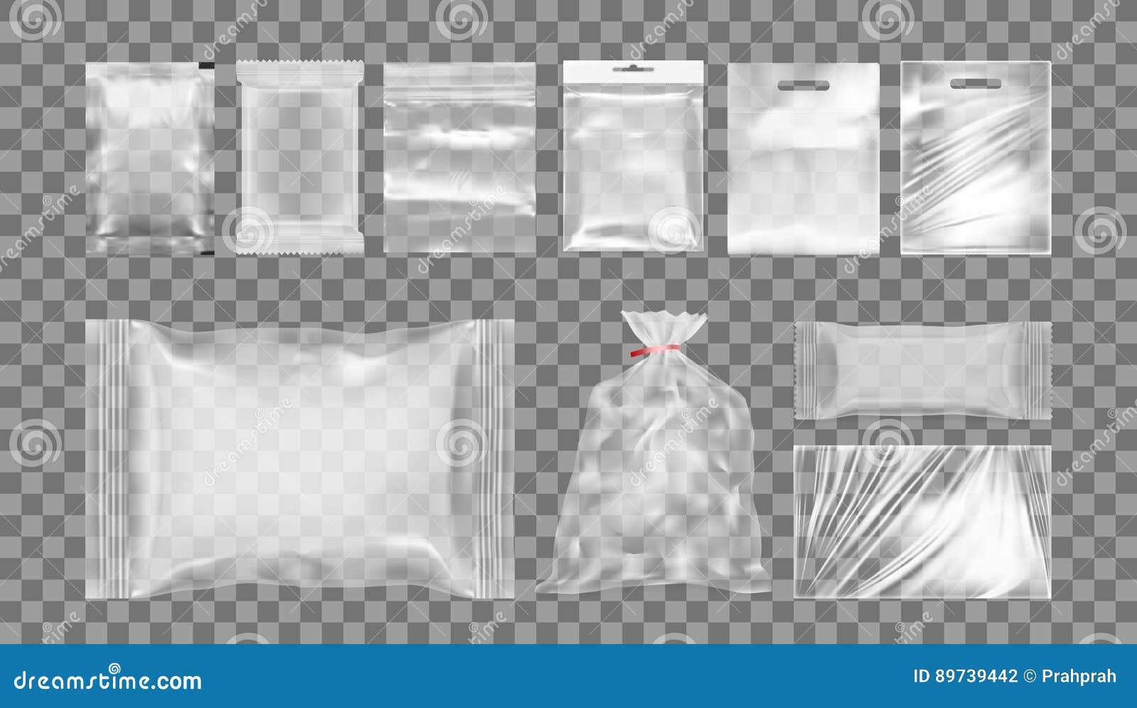 Großer Satz Transparente Leere Plastikverpackung Stock Abbildung ...