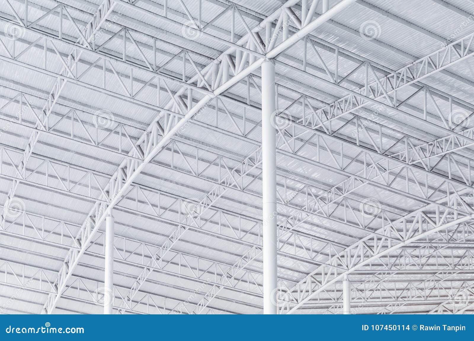 Großer Stahlkonstruktionsbinder, Dachrahmen Und Blechtafel Im ...