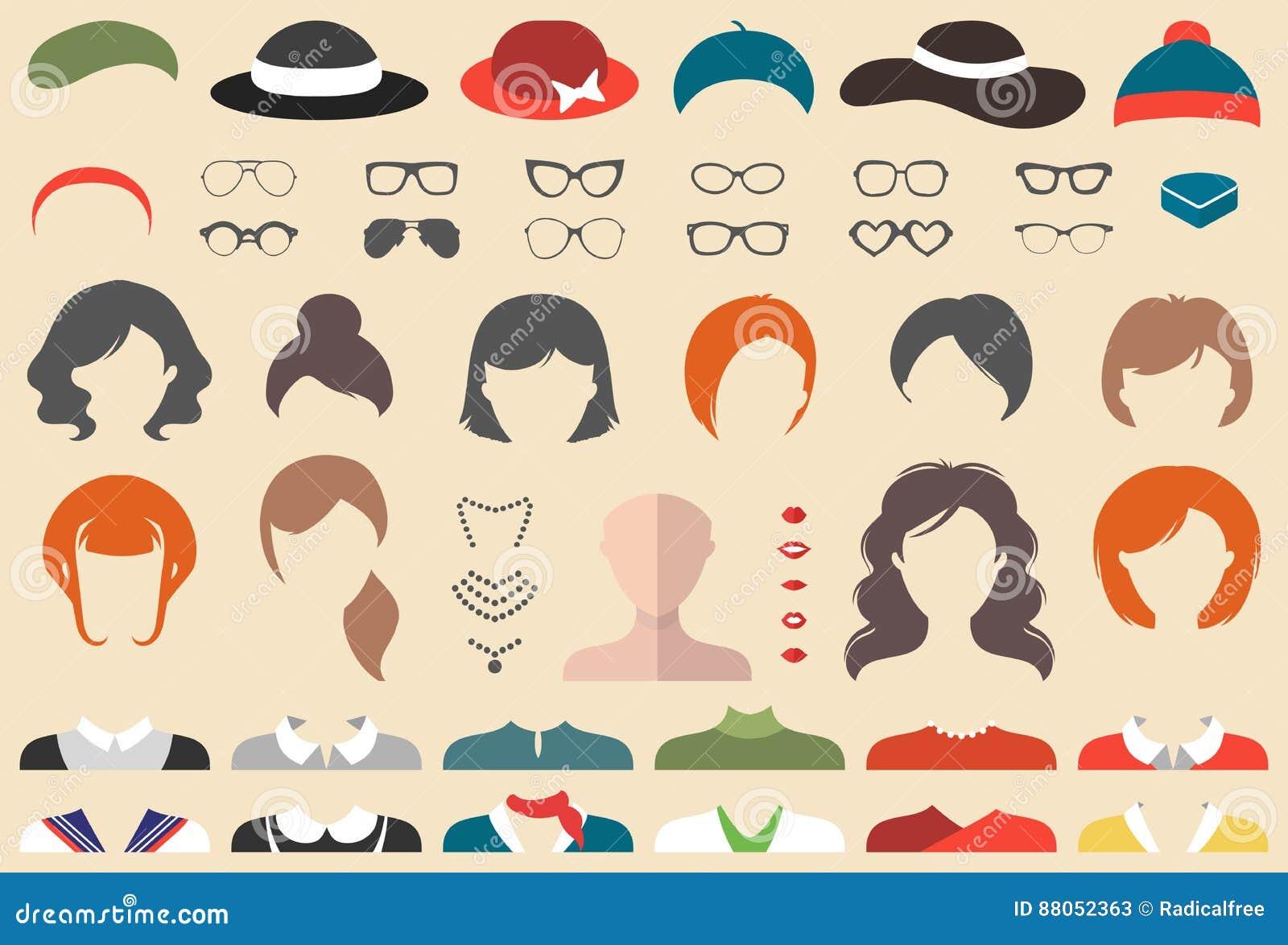 Großer Vektorsatz von kleiden oben Erbauer mit verschiedenen Frauenhaarschnitten, Gläsern, den Lippen, Abnutzung usw. Frau stellt