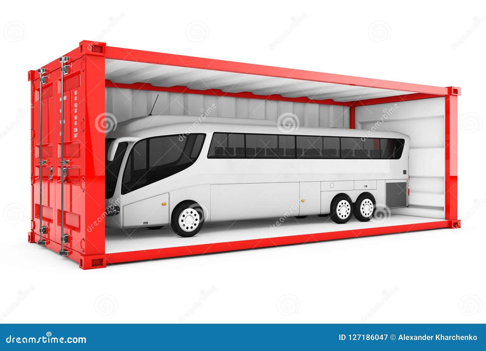 Großer weißer Trainer Tour Bus in der roten Versandverpackung mit entfernt