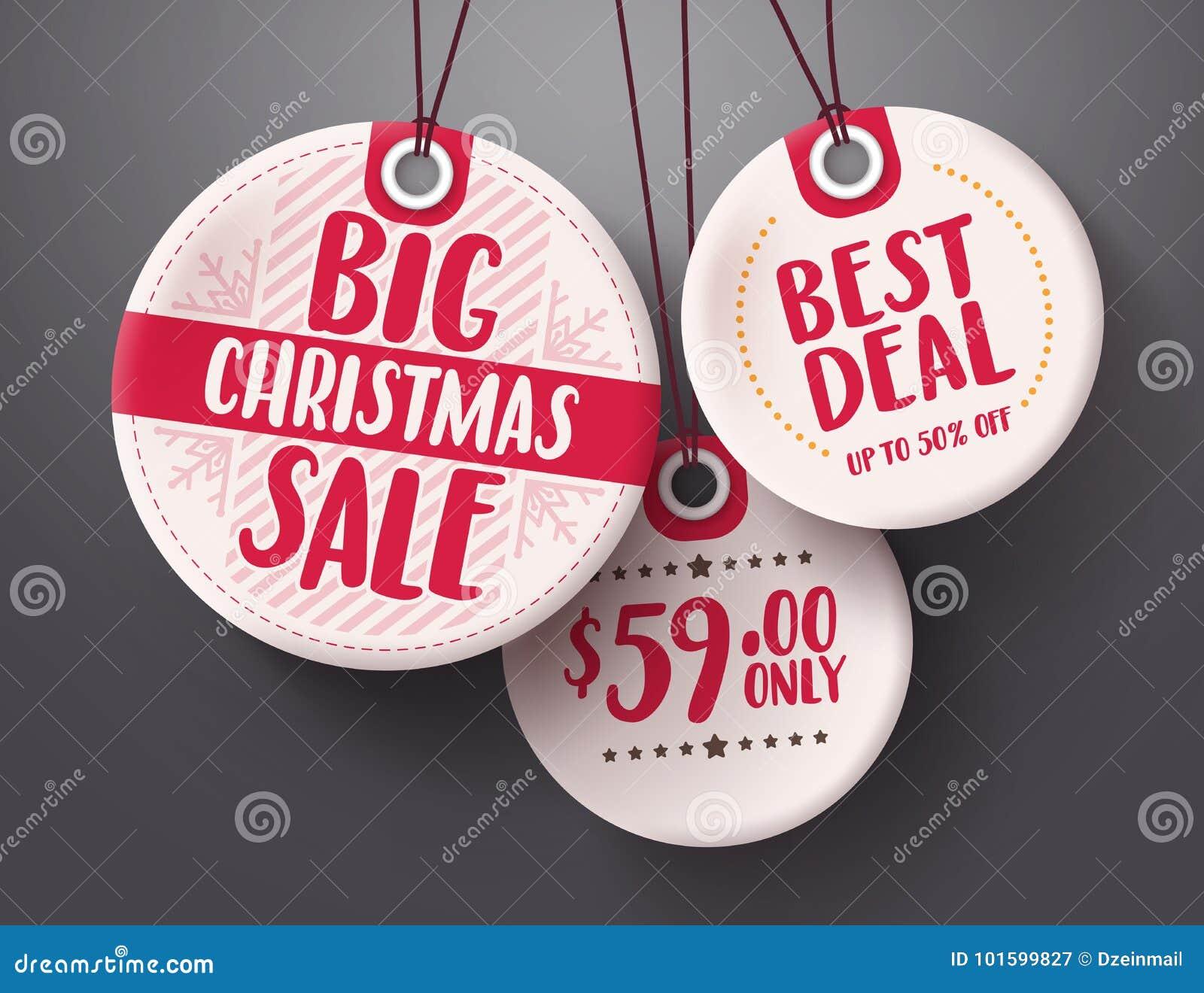 Großer Weihnachtsverkaufstag-Vektorsatz mit dem weißen und roten Tagpreis-Farbhängen