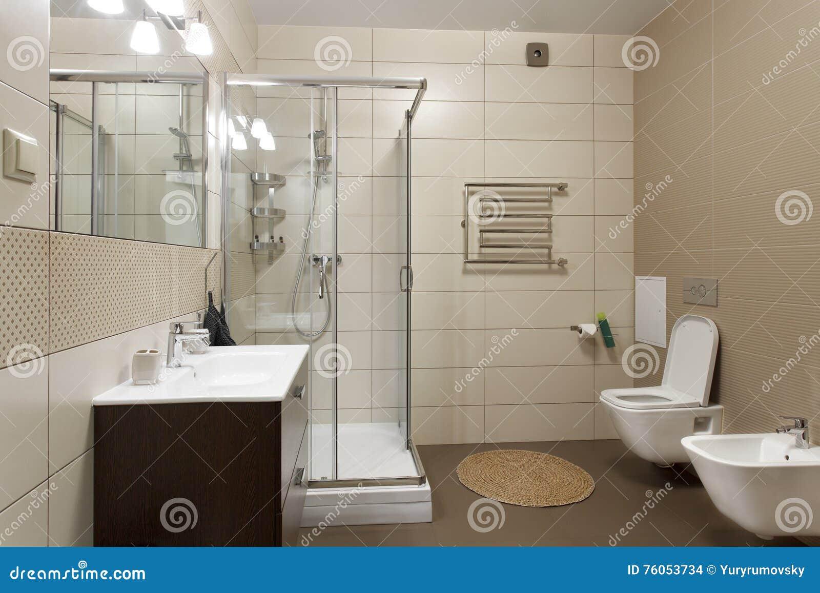 Großes Badezimmer In Den Braunen Tönen Stockfoto - Bild von weiß ...