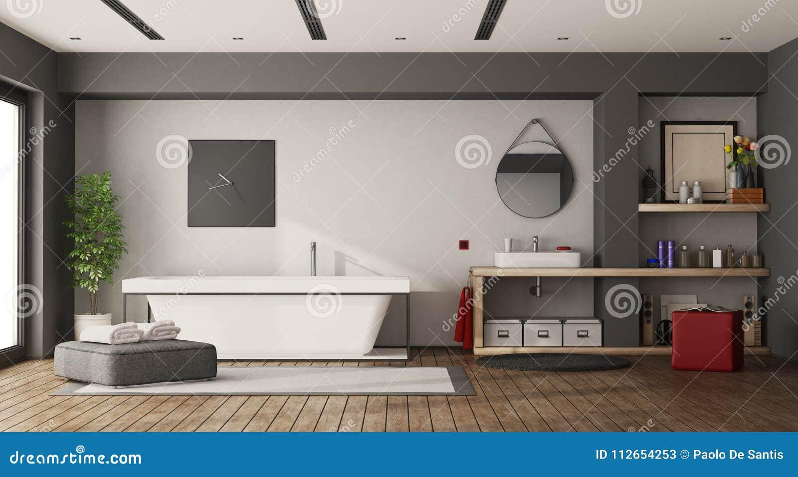 Großes Badezimmer Mit Badewanne Und Waschbecken Stock Abbildung ...