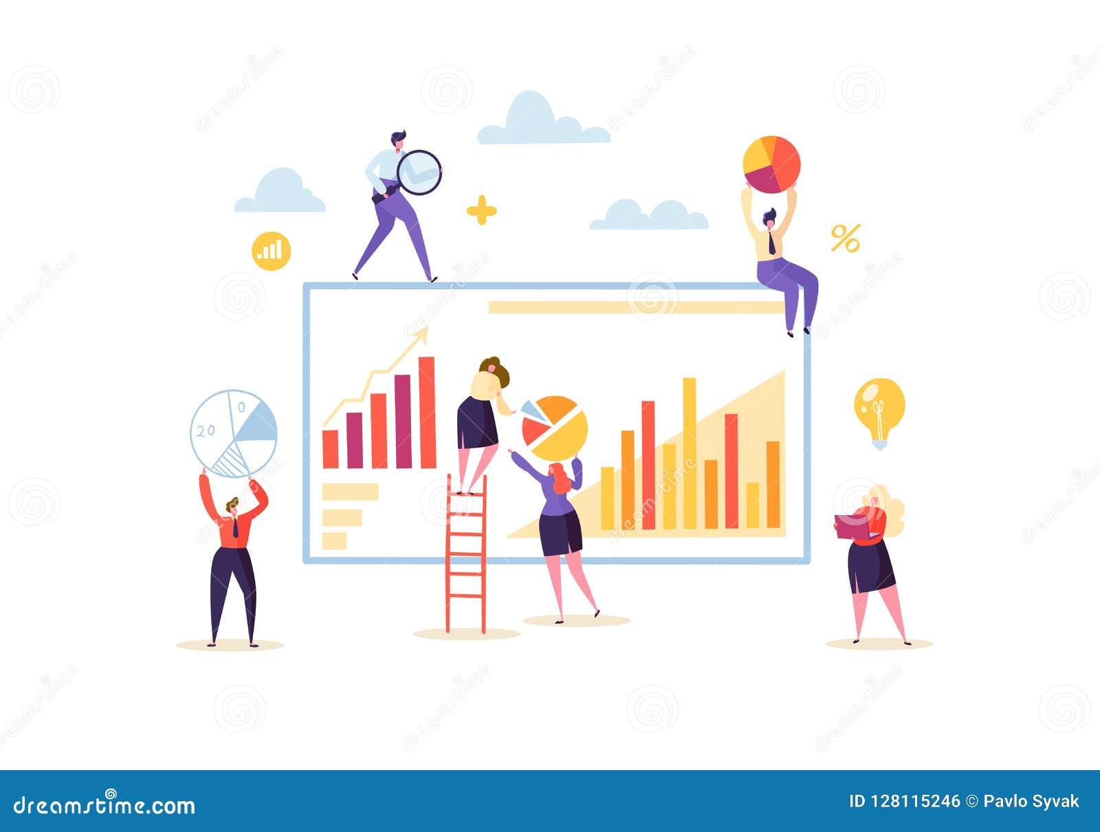 Großes Datenanalyse-Strategie-Konzept Marketing-Analytik mit Geschäftsleuten Charakter, diezusammen mit Diagrammen arbeiten
