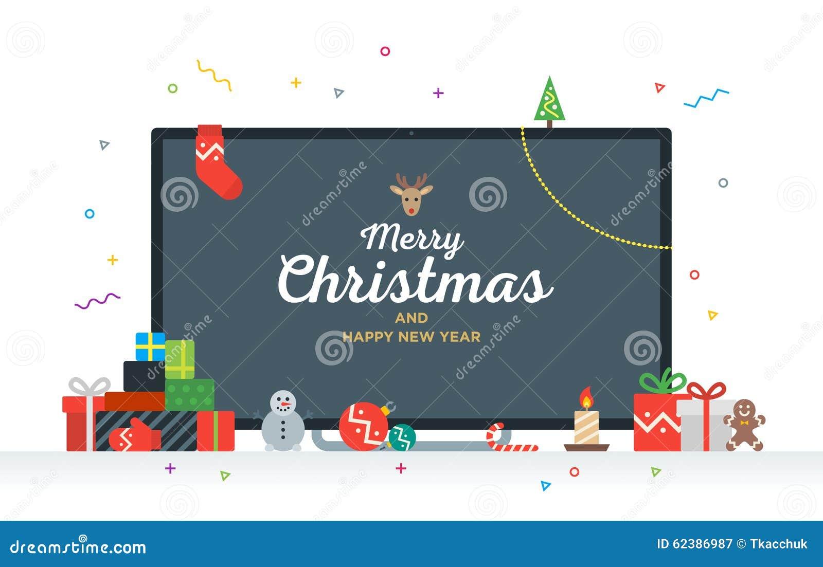 Definition Weihnachten.Großes Fernsehen Mit Glückwunschtext Frohen Weihnachten Vektor