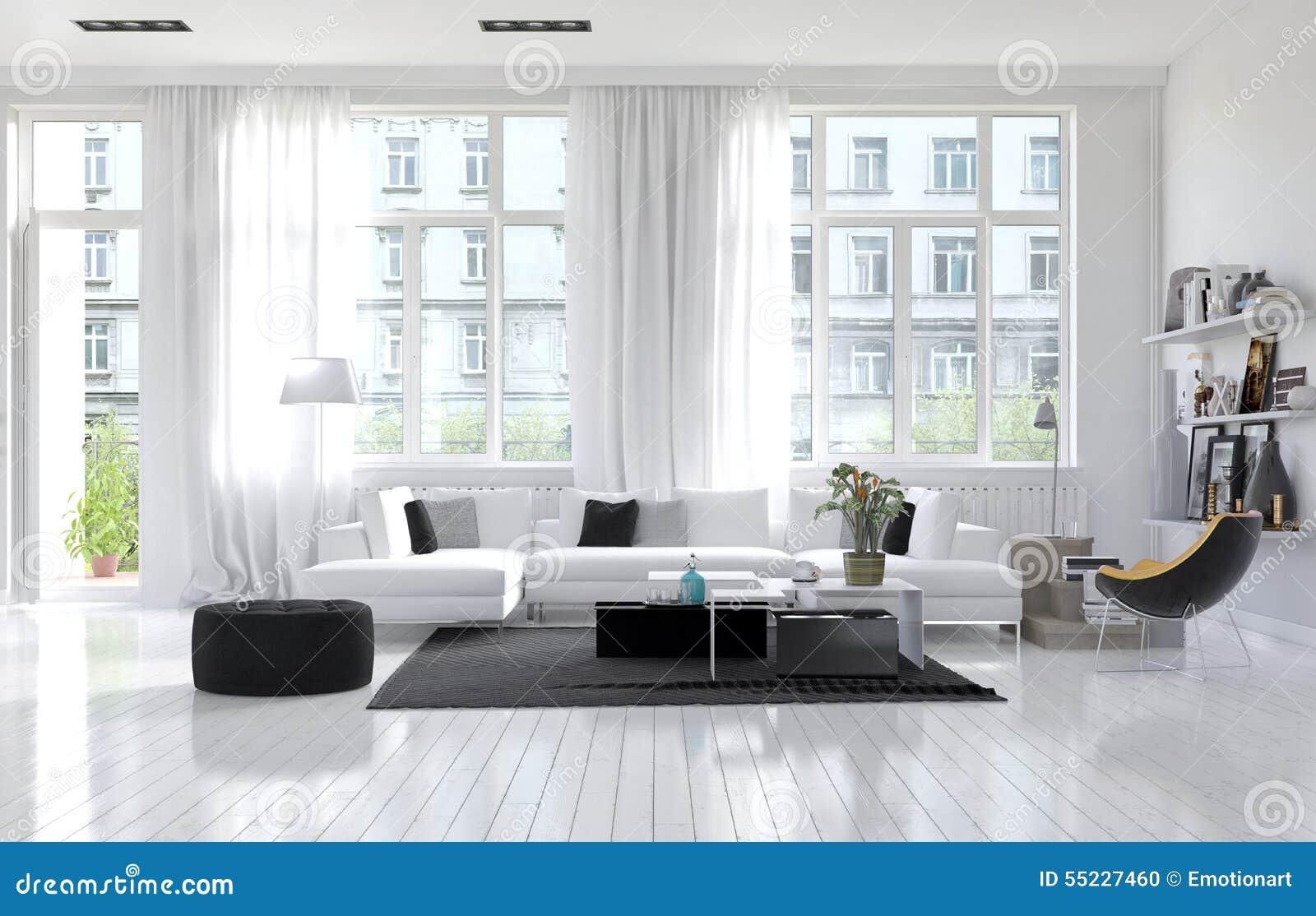 Grosses Geraumiges Modernes Weisses Wohnzimmer Stock Abbildung