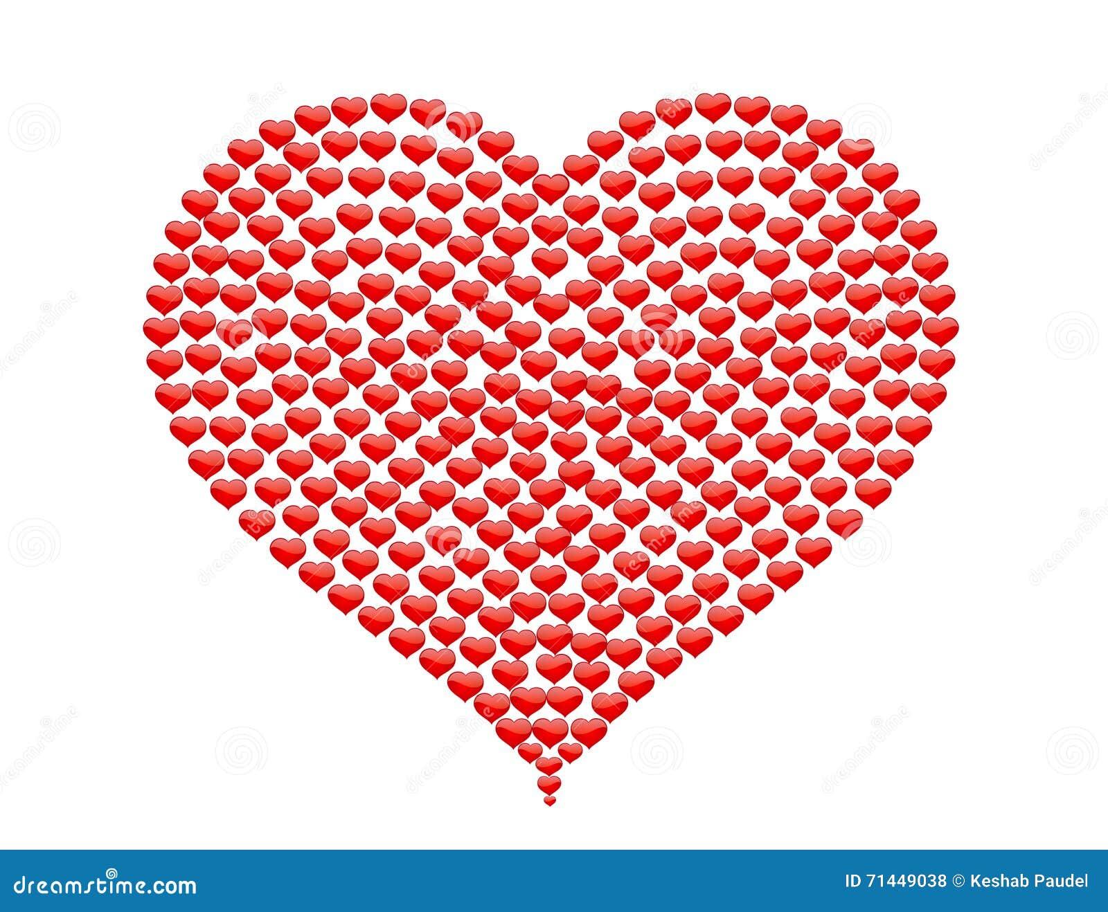Großes Herz Gemacht Von Den Kleinen Herzen Ohne BG Stock Abbildung ...